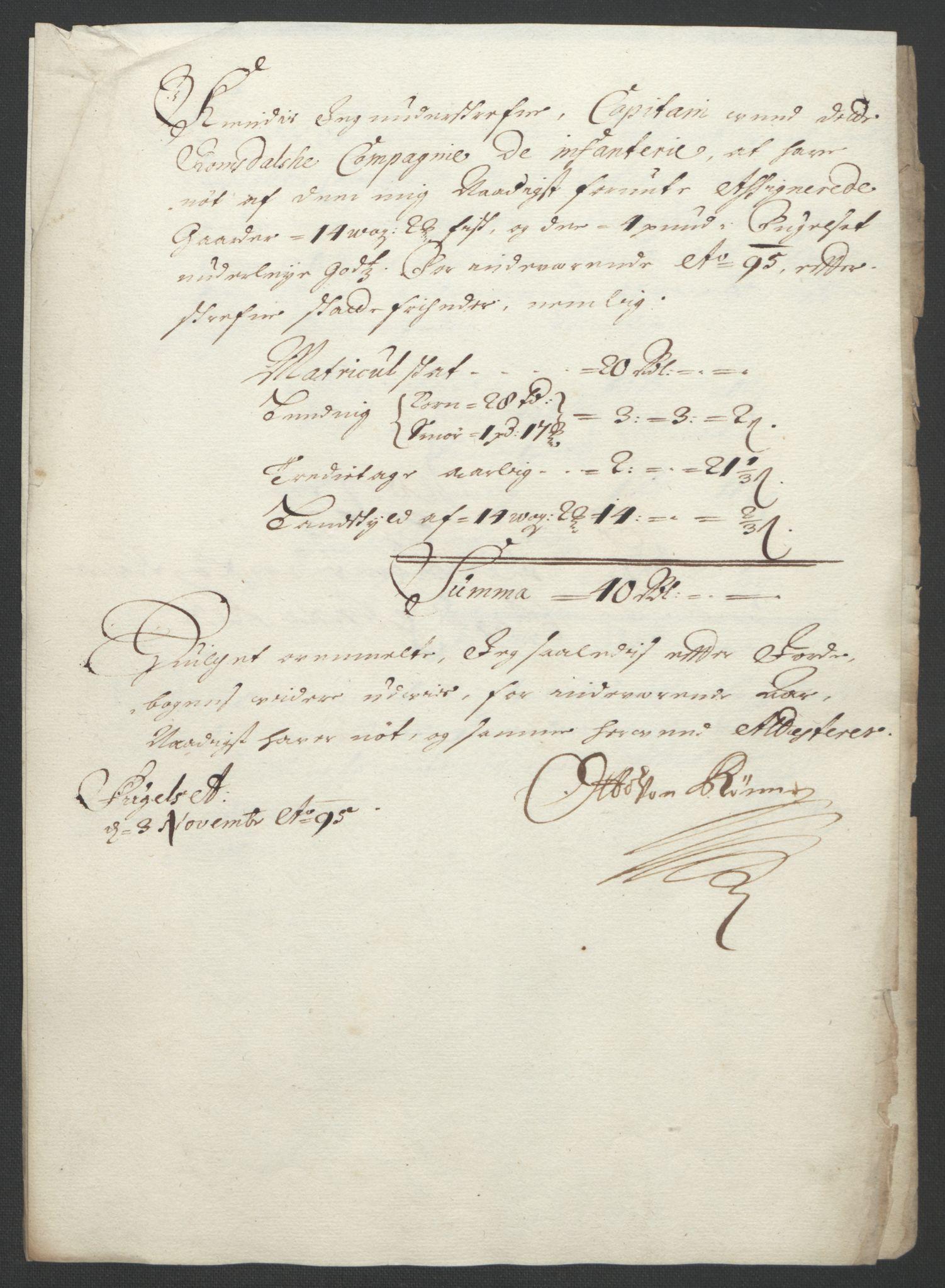 RA, Rentekammeret inntil 1814, Reviderte regnskaper, Fogderegnskap, R55/L3652: Fogderegnskap Romsdal, 1695-1696, s. 135