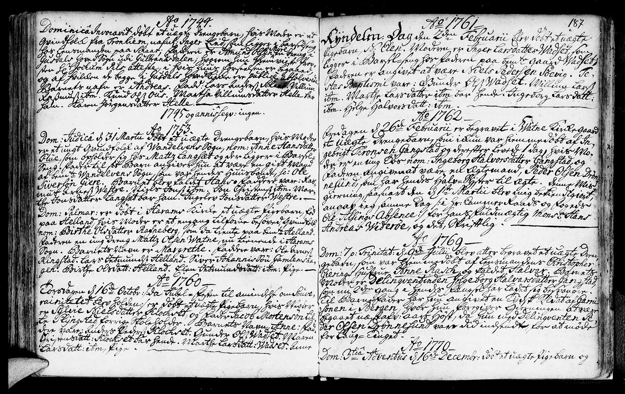 SAT, Ministerialprotokoller, klokkerbøker og fødselsregistre - Møre og Romsdal, 525/L0371: Ministerialbok nr. 525A01, 1699-1777, s. 187