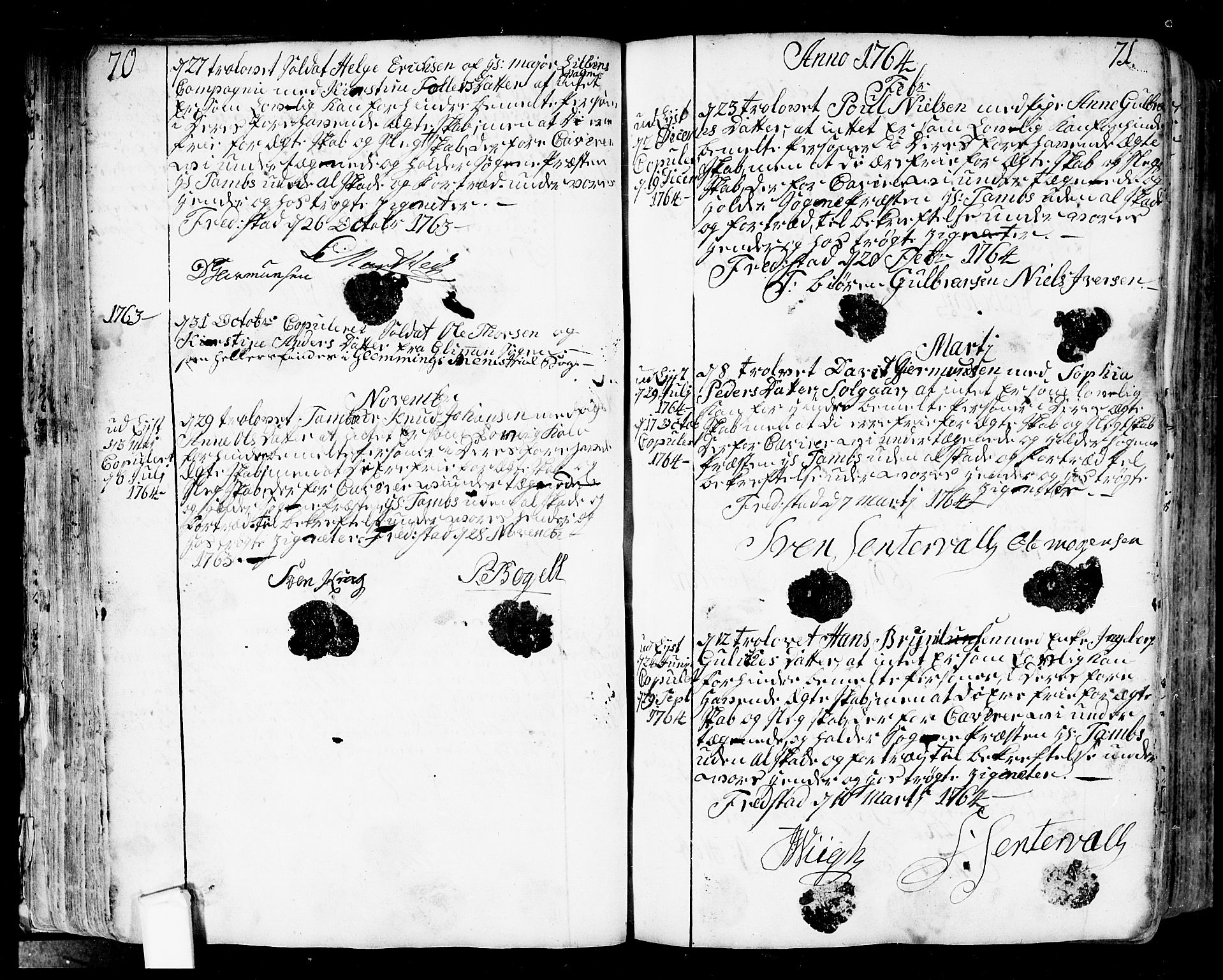 SAO, Fredrikstad prestekontor Kirkebøker, F/Fa/L0002: Ministerialbok nr. 2, 1750-1804, s. 70-71
