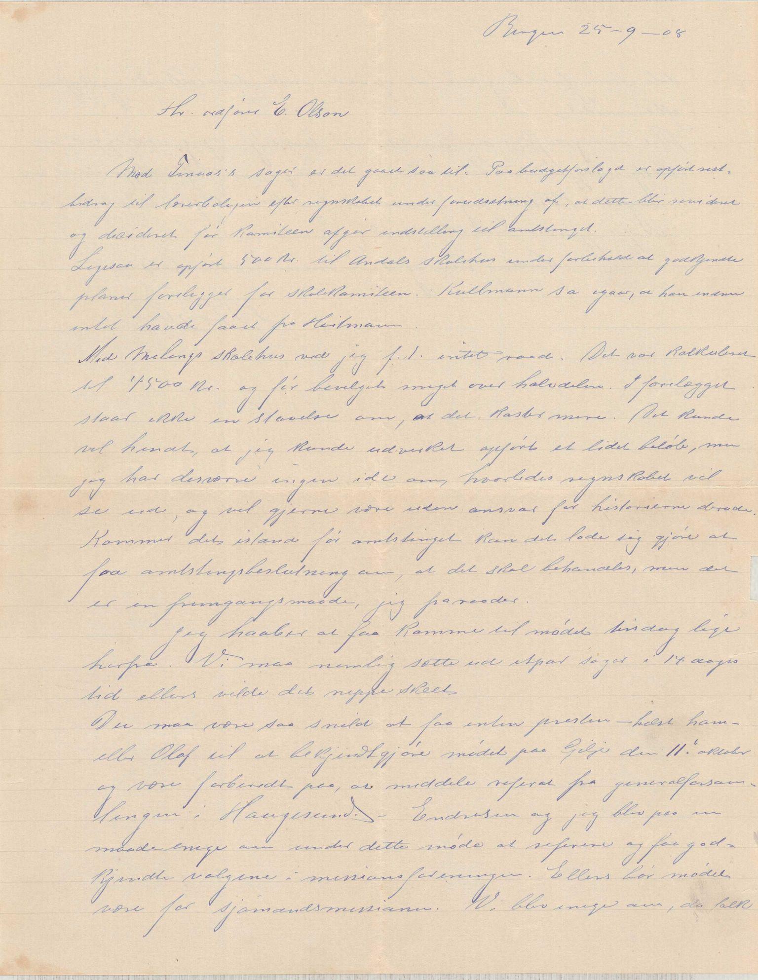 IKAH, Finnaas kommune. Formannskapet, D/Da/L0001: Korrespondanse / saker, 1908-1912, s. 1
