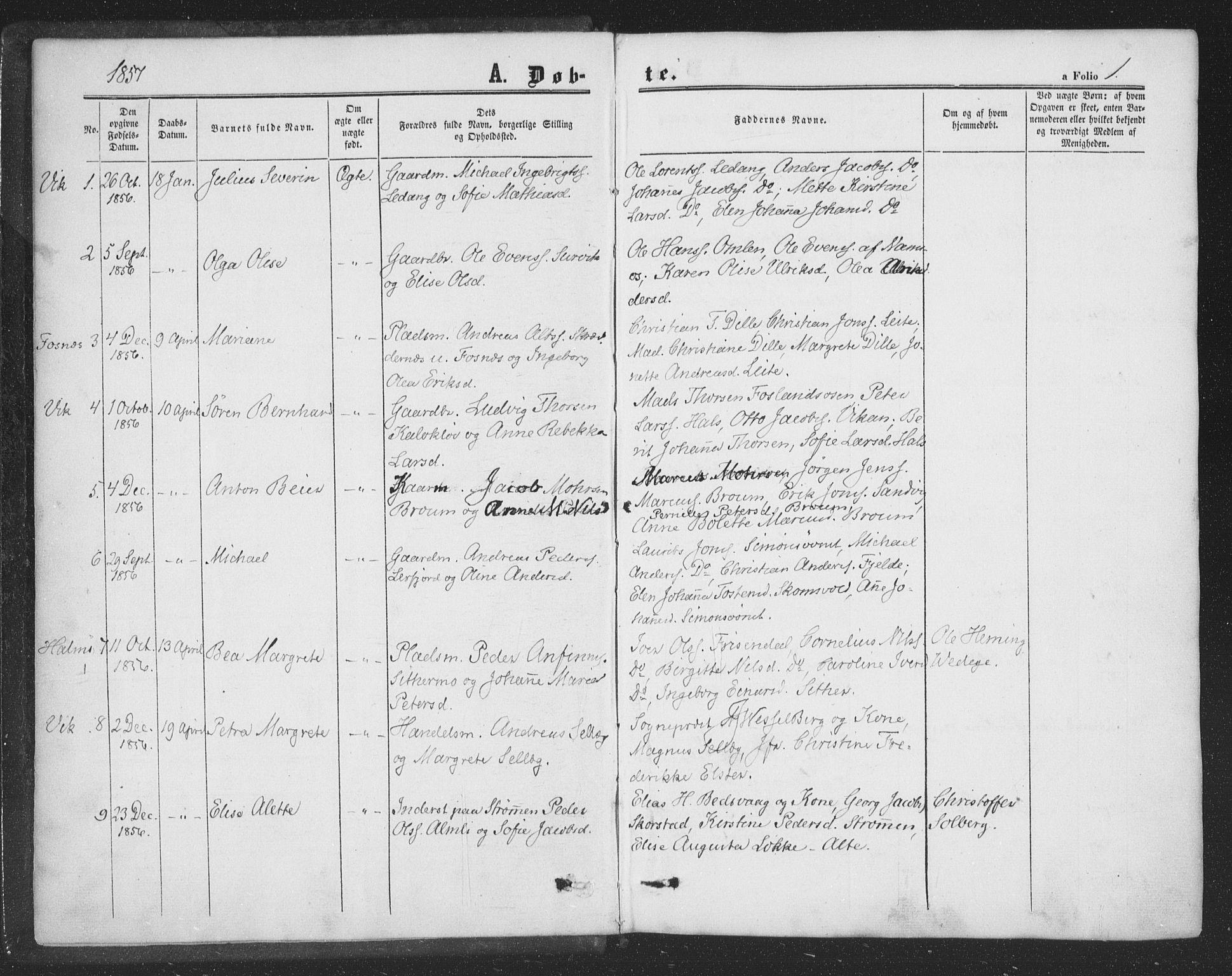 SAT, Ministerialprotokoller, klokkerbøker og fødselsregistre - Nord-Trøndelag, 773/L0615: Ministerialbok nr. 773A06, 1857-1870, s. 1