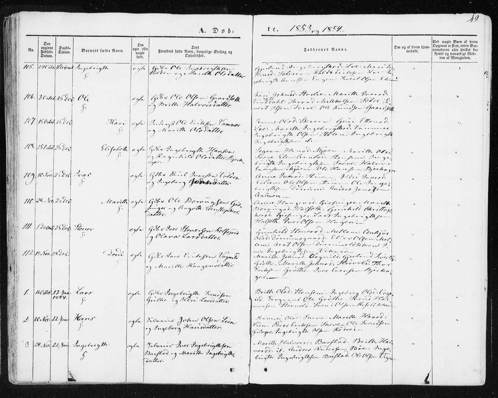 SAT, Ministerialprotokoller, klokkerbøker og fødselsregistre - Sør-Trøndelag, 678/L0899: Ministerialbok nr. 678A08, 1848-1872, s. 49