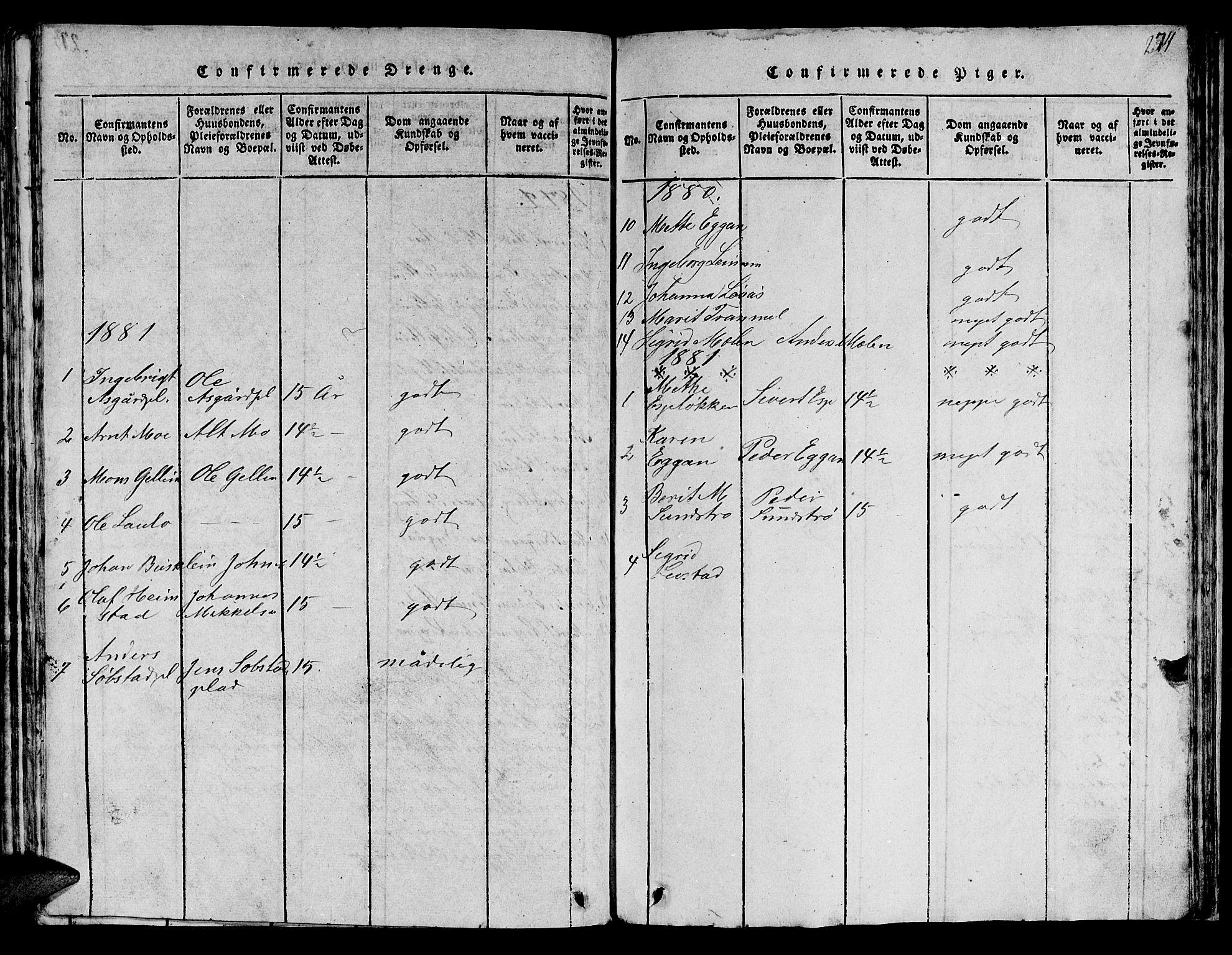 SAT, Ministerialprotokoller, klokkerbøker og fødselsregistre - Sør-Trøndelag, 613/L0393: Klokkerbok nr. 613C01, 1816-1886, s. 274