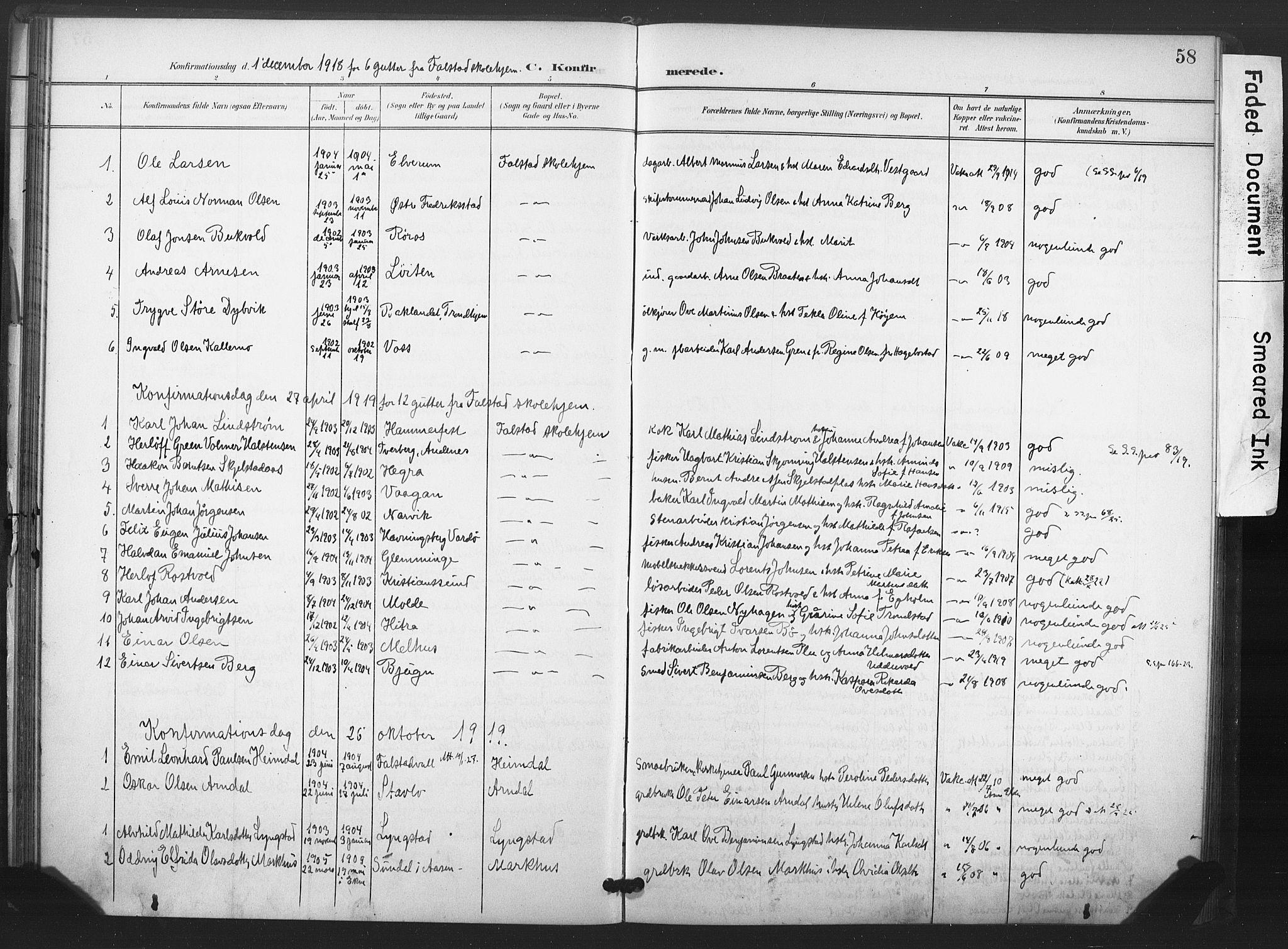 SAT, Ministerialprotokoller, klokkerbøker og fødselsregistre - Nord-Trøndelag, 719/L0179: Ministerialbok nr. 719A02, 1901-1923, s. 58