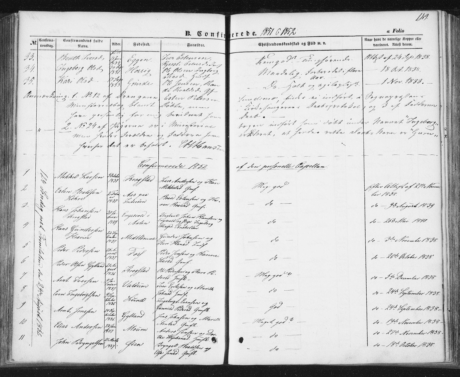SAT, Ministerialprotokoller, klokkerbøker og fødselsregistre - Sør-Trøndelag, 692/L1103: Ministerialbok nr. 692A03, 1849-1870, s. 149