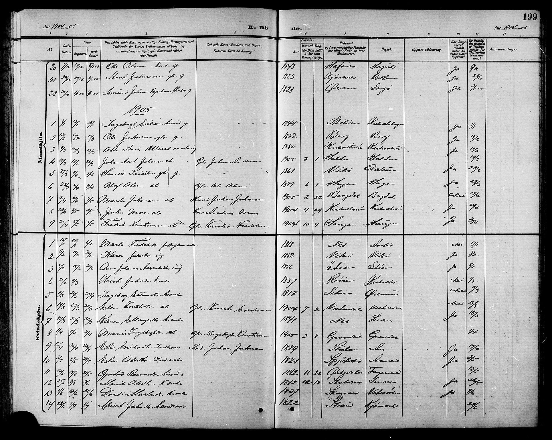 SAT, Ministerialprotokoller, klokkerbøker og fødselsregistre - Sør-Trøndelag, 630/L0505: Klokkerbok nr. 630C03, 1899-1914, s. 199
