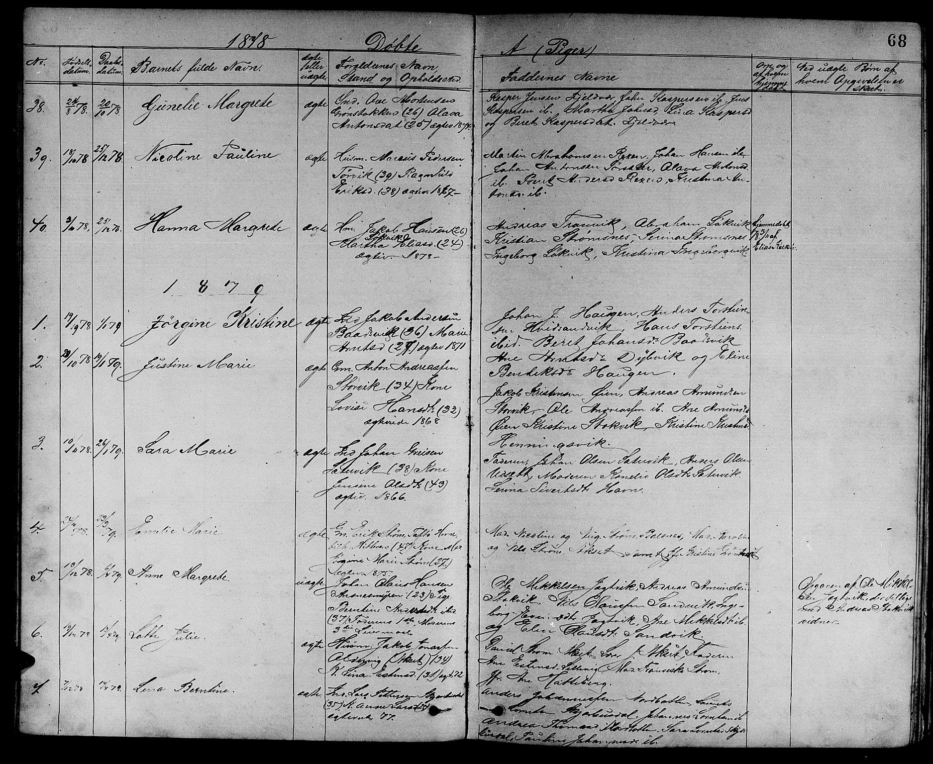 SAT, Ministerialprotokoller, klokkerbøker og fødselsregistre - Sør-Trøndelag, 637/L0561: Klokkerbok nr. 637C02, 1873-1882, s. 68