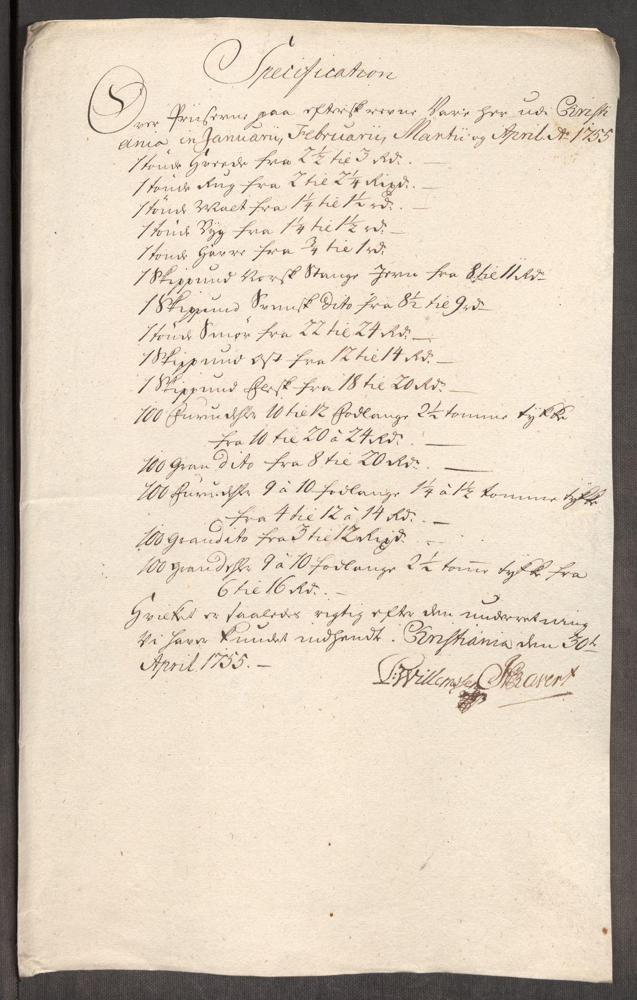 RA, Rentekammeret inntil 1814, Realistisk ordnet avdeling, Oe/L0005: [Ø1]: Priskuranter, 1753-1757, s. 402