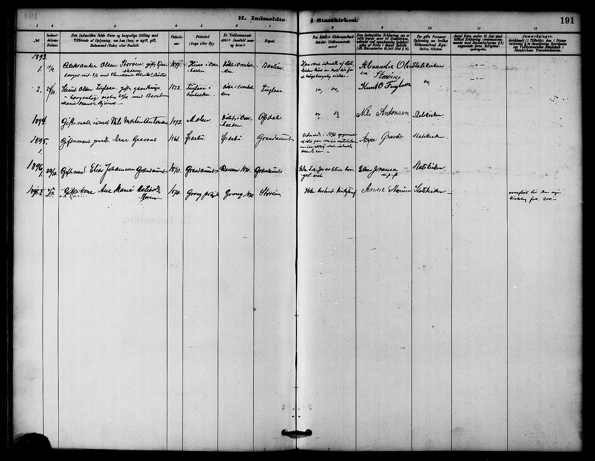 SAT, Ministerialprotokoller, klokkerbøker og fødselsregistre - Nord-Trøndelag, 764/L0555: Ministerialbok nr. 764A10, 1881-1896, s. 191