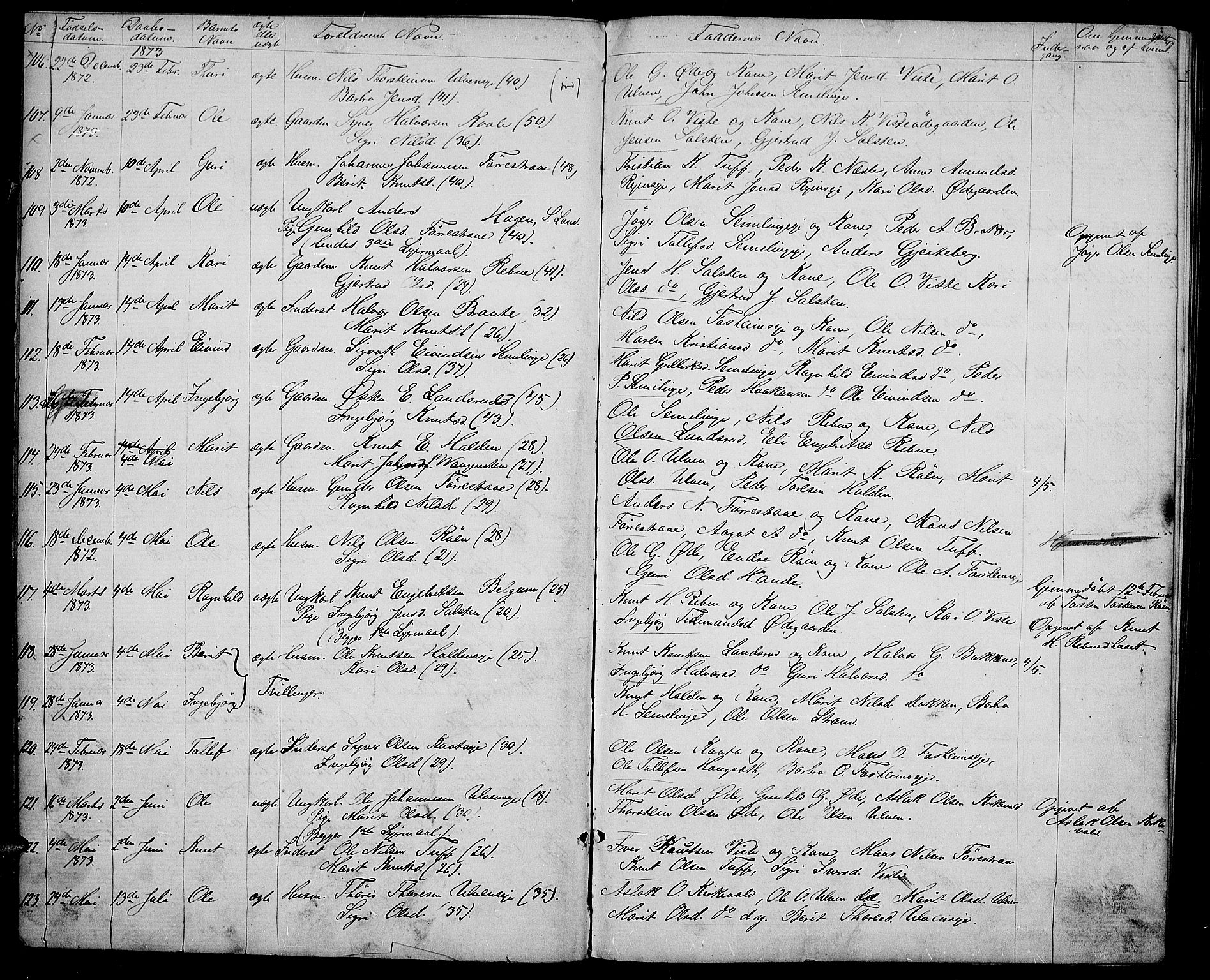 SAH, Vestre Slidre prestekontor, Klokkerbok nr. 3, 1869-1882, s. 9