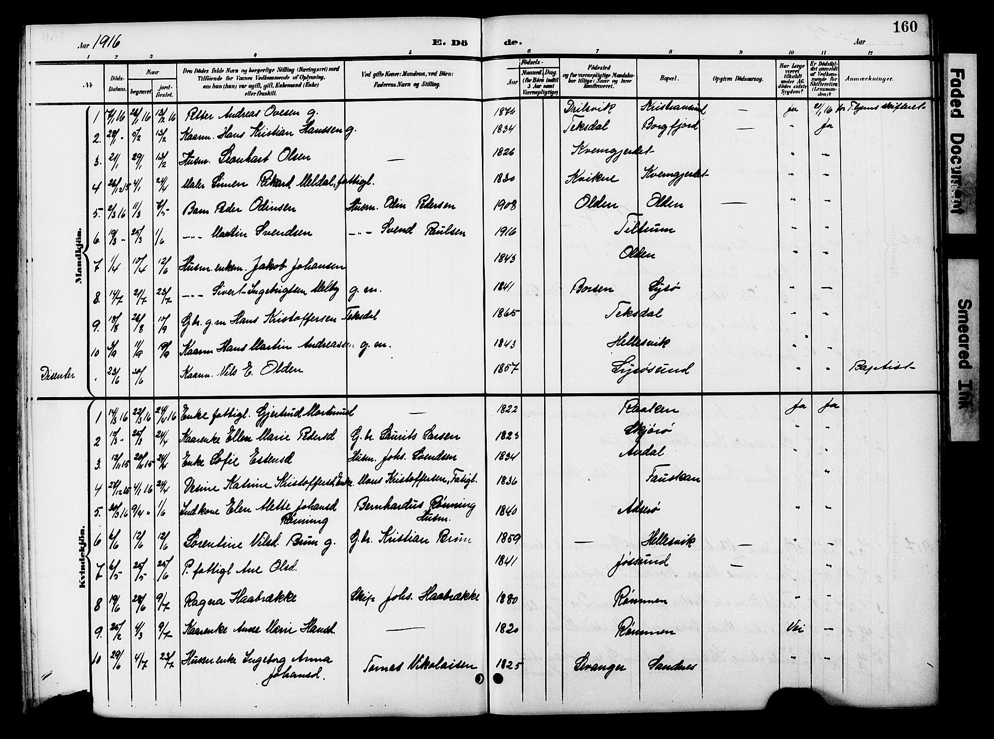 SAT, Ministerialprotokoller, klokkerbøker og fødselsregistre - Sør-Trøndelag, 654/L0666: Klokkerbok nr. 654C02, 1901-1925, s. 160