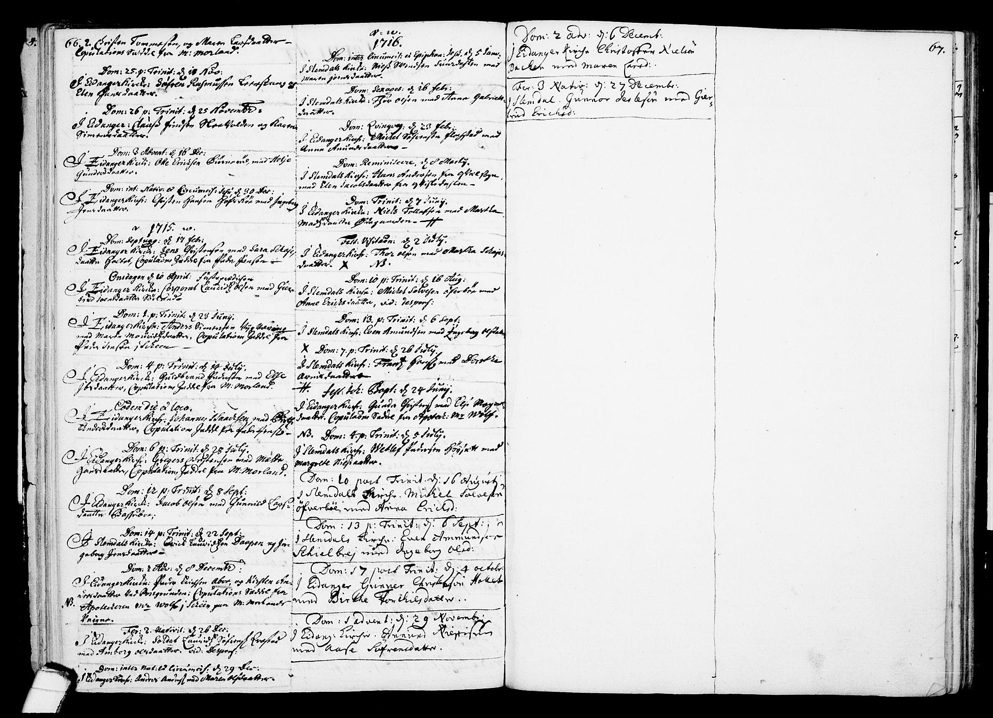 SAKO, Eidanger kirkebøker, F/Fa/L0002: Ministerialbok nr. 2, 1712-1720, s. 66-67