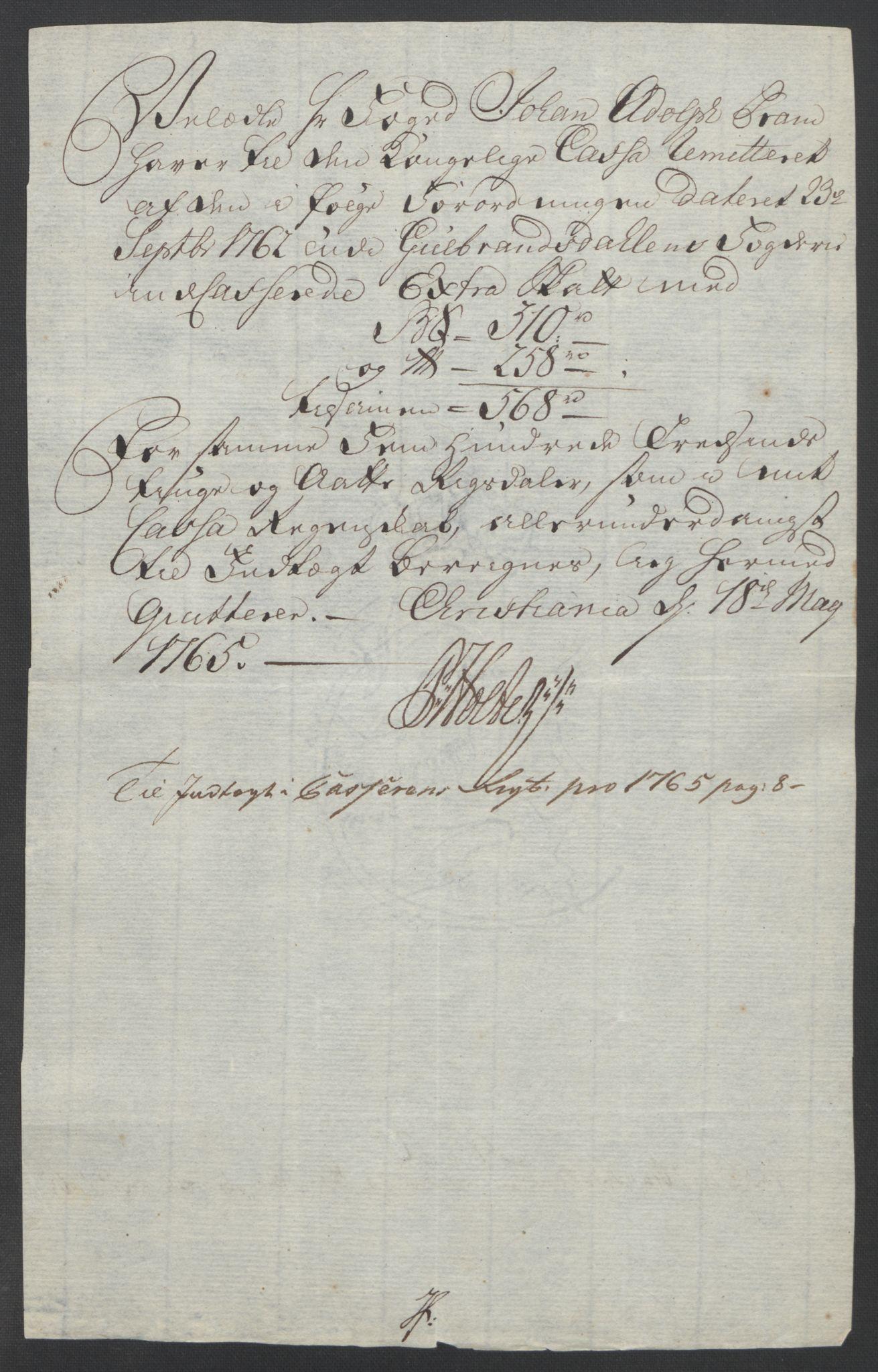 RA, Rentekammeret inntil 1814, Reviderte regnskaper, Fogderegnskap, R17/L1266: Ekstraskatten Gudbrandsdal, 1762-1766, s. 523