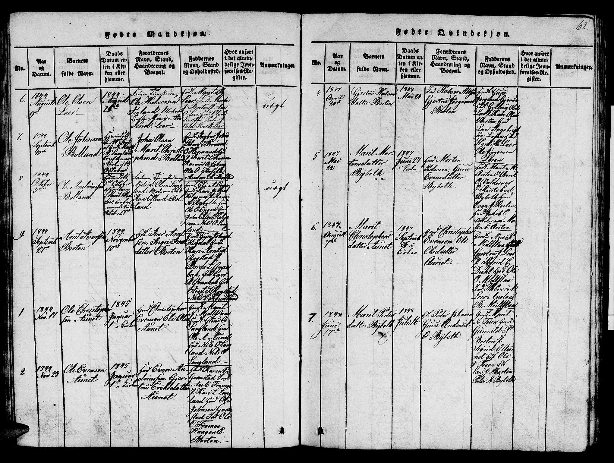 SAT, Ministerialprotokoller, klokkerbøker og fødselsregistre - Sør-Trøndelag, 693/L1121: Klokkerbok nr. 693C02, 1816-1869, s. 62