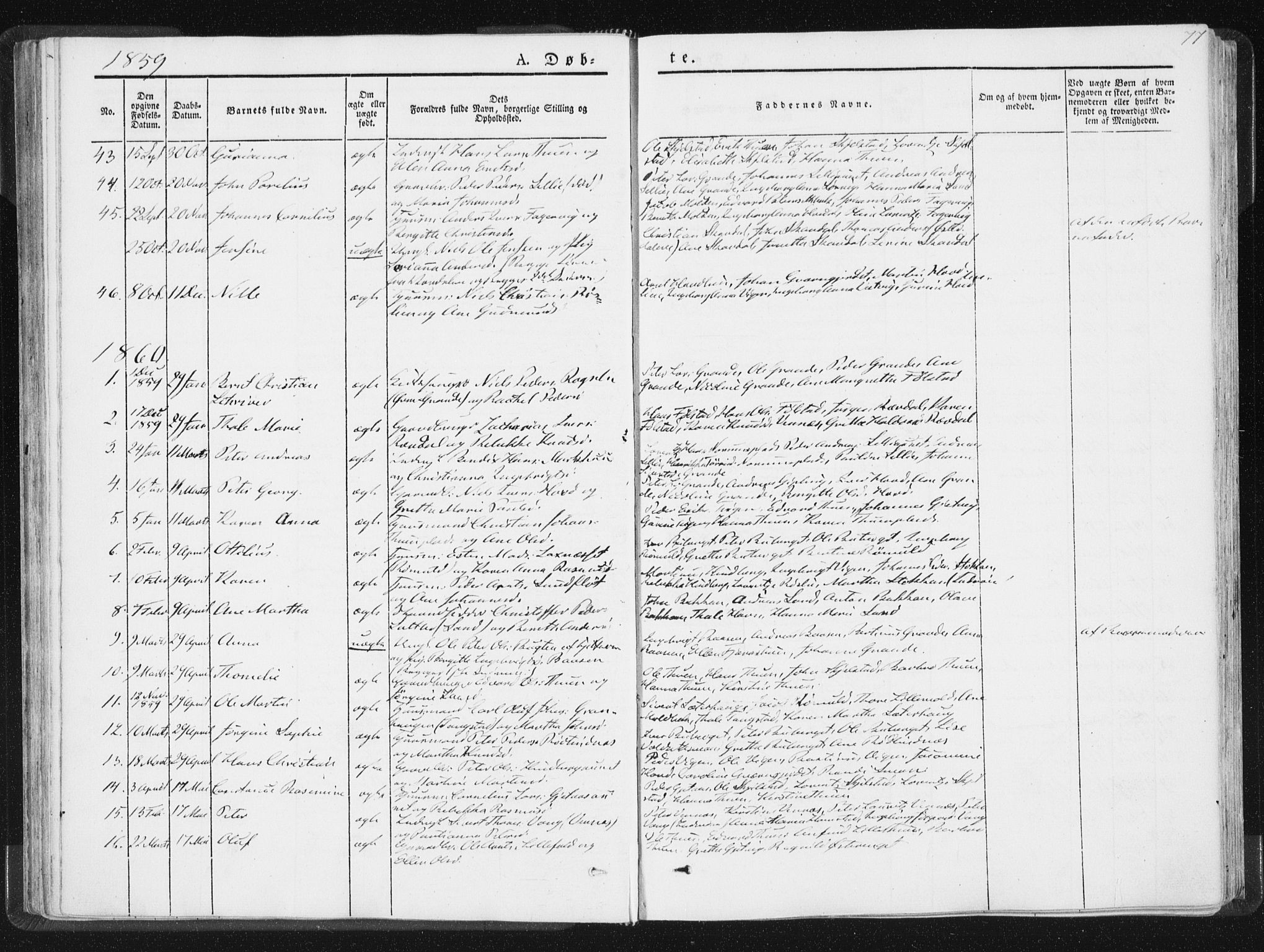 SAT, Ministerialprotokoller, klokkerbøker og fødselsregistre - Nord-Trøndelag, 744/L0418: Ministerialbok nr. 744A02, 1843-1866, s. 77