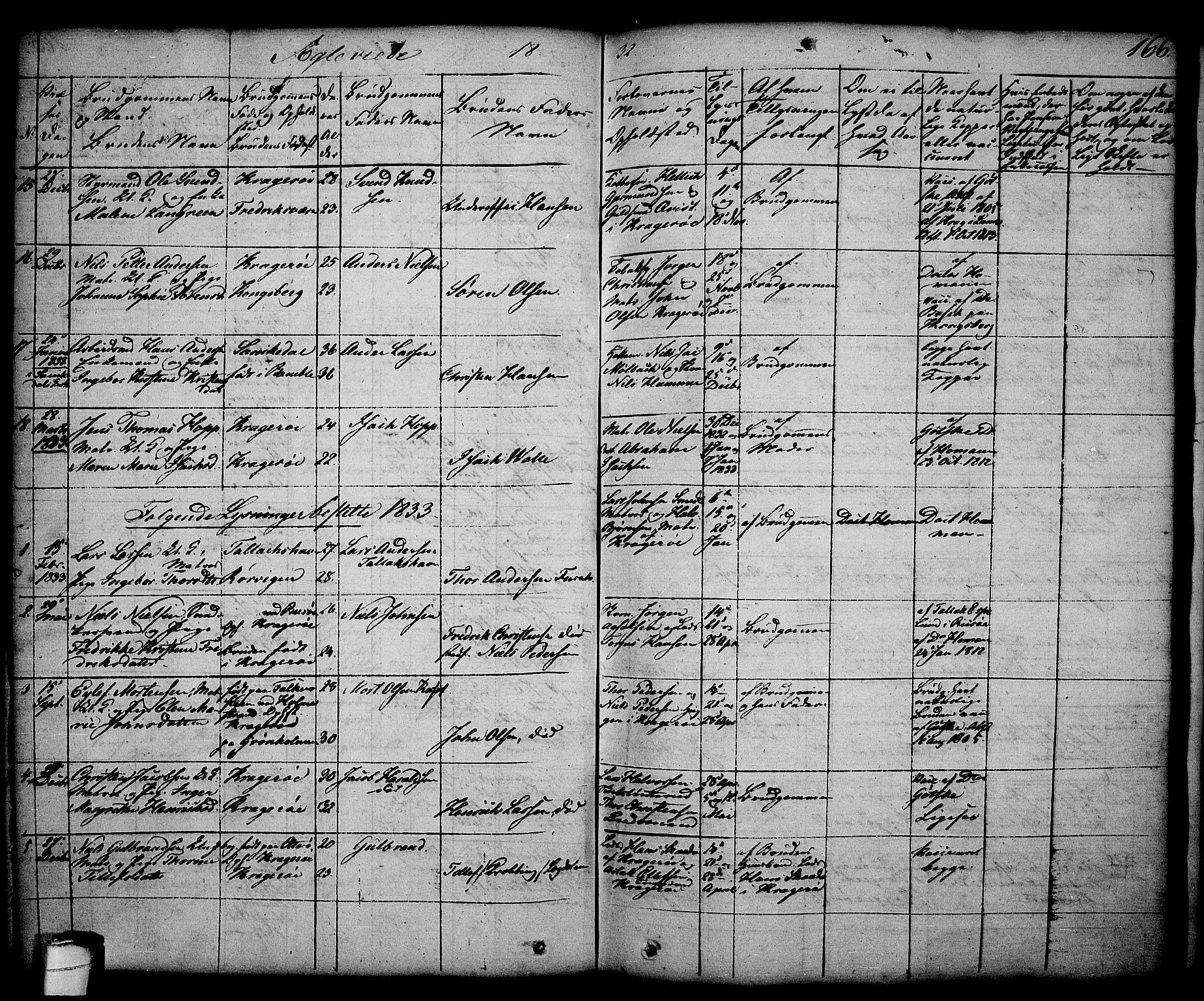 SAKO, Kragerø kirkebøker, G/Ga/L0003: Klokkerbok nr. 3, 1832-1852, s. 166