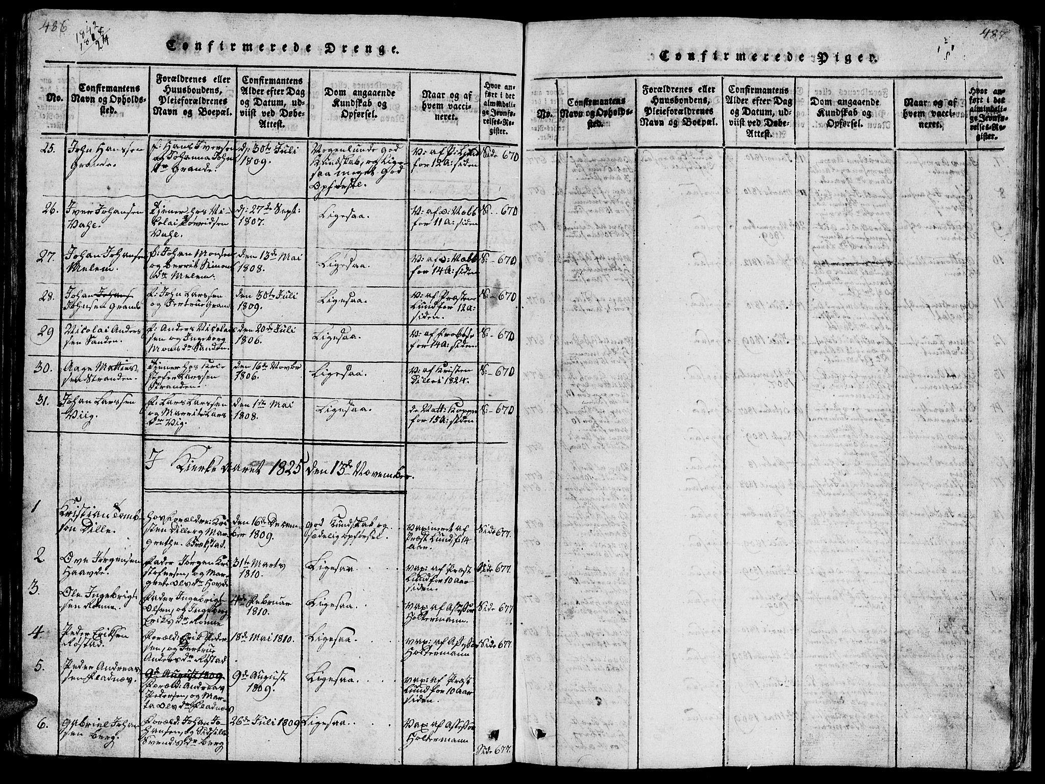 SAT, Ministerialprotokoller, klokkerbøker og fødselsregistre - Sør-Trøndelag, 659/L0744: Klokkerbok nr. 659C01, 1818-1825, s. 486-487