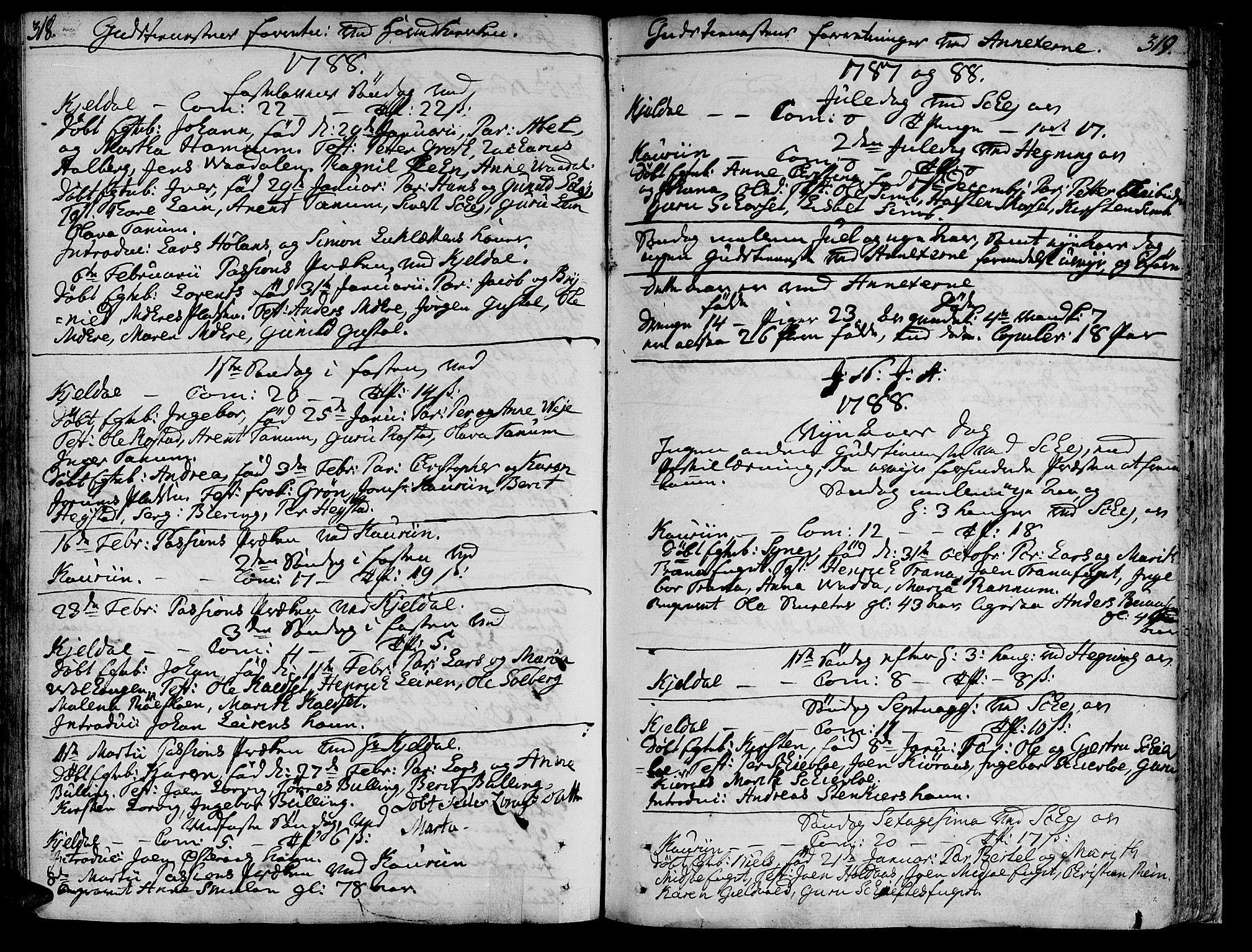 SAT, Ministerialprotokoller, klokkerbøker og fødselsregistre - Nord-Trøndelag, 735/L0331: Ministerialbok nr. 735A02, 1762-1794, s. 318-319