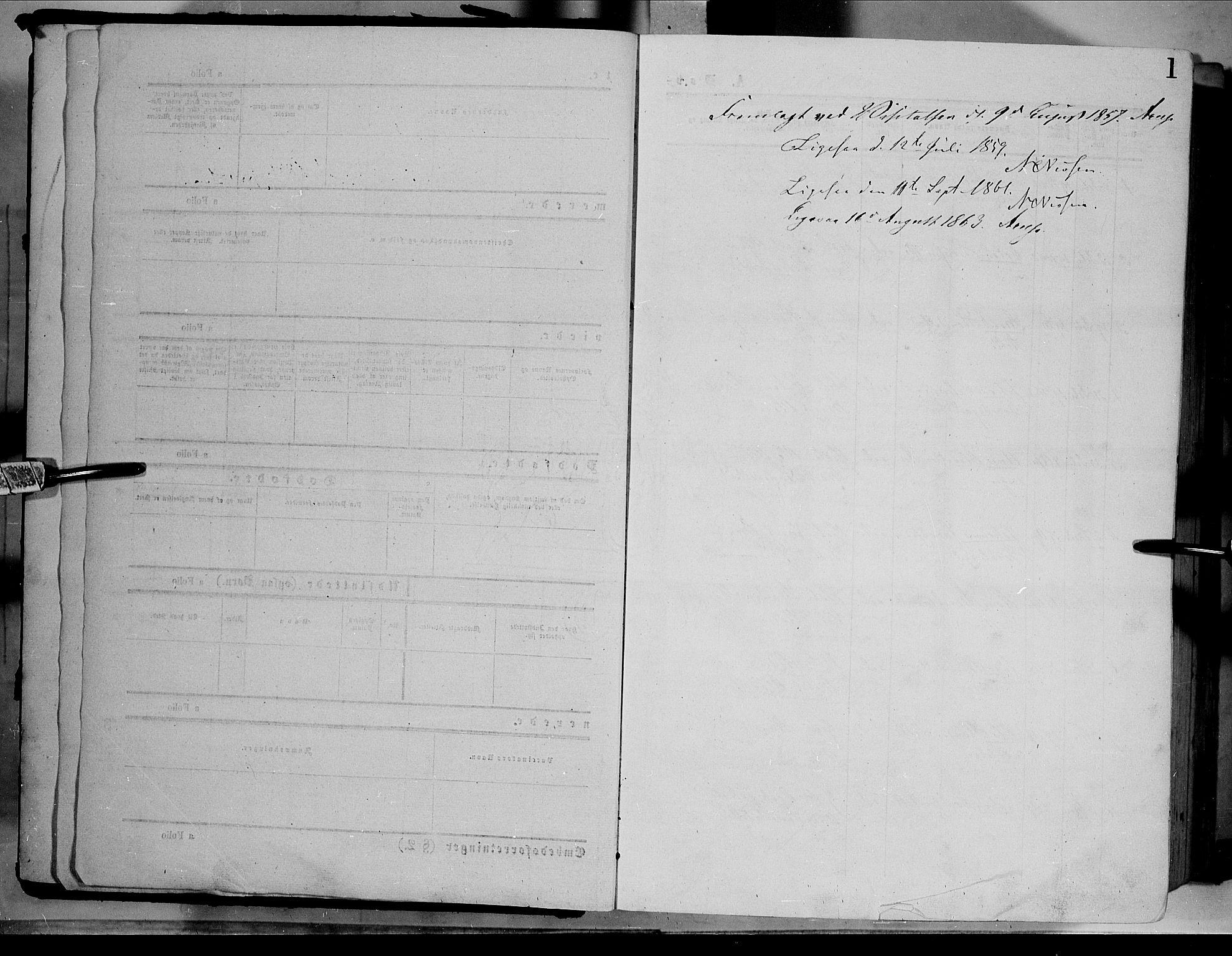 SAH, Dovre prestekontor, Ministerialbok nr. 1, 1854-1878, s. 1