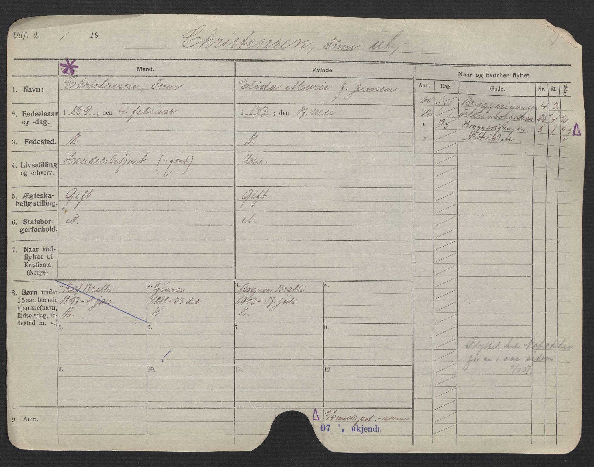 SAO, Oslo folkeregister, Registerkort, F/Fa/Fac/L0006: Menn, 1906-1914, s. 542a