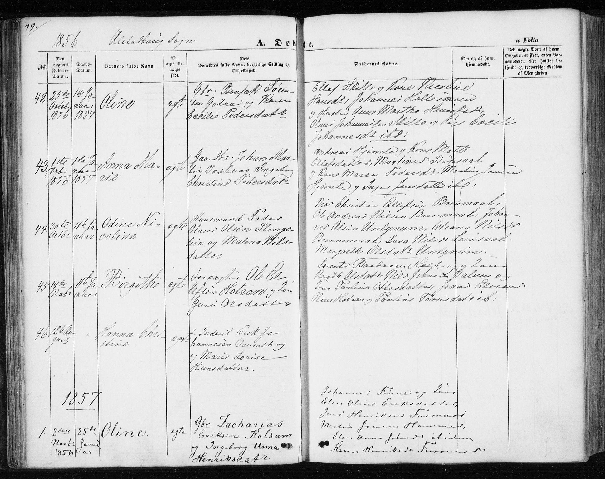 SAT, Ministerialprotokoller, klokkerbøker og fødselsregistre - Nord-Trøndelag, 717/L0154: Ministerialbok nr. 717A07 /1, 1850-1862, s. 49