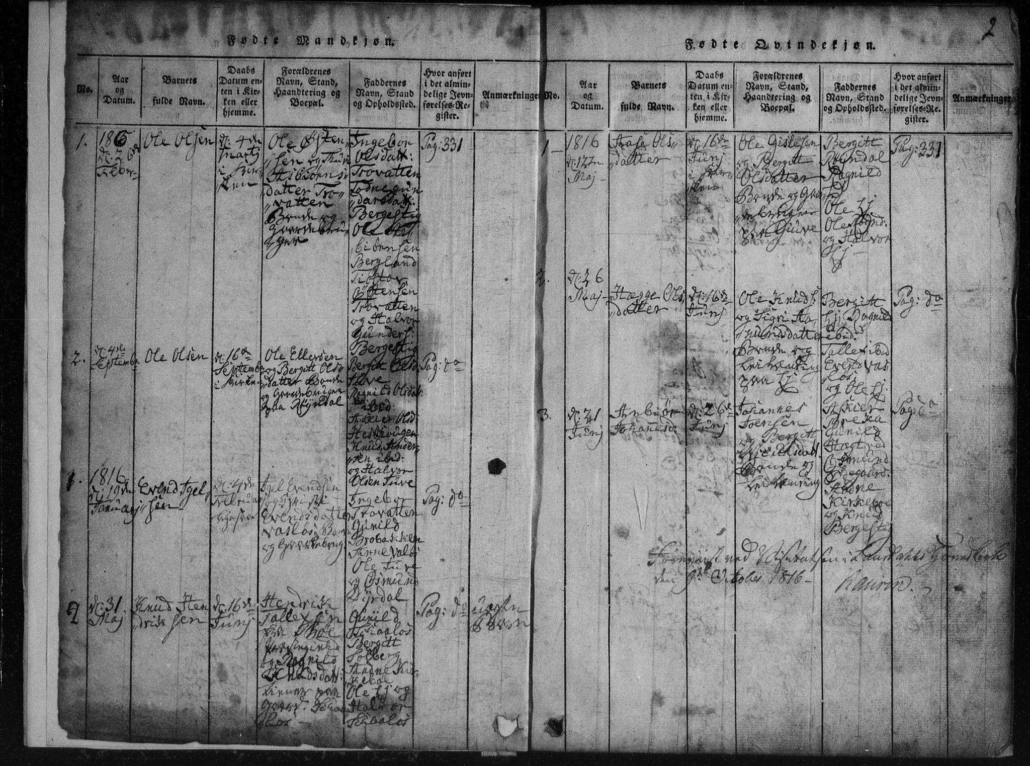 SAKO, Rauland kirkebøker, G/Gb/L0001: Klokkerbok nr. II 1, 1815-1886, s. 2
