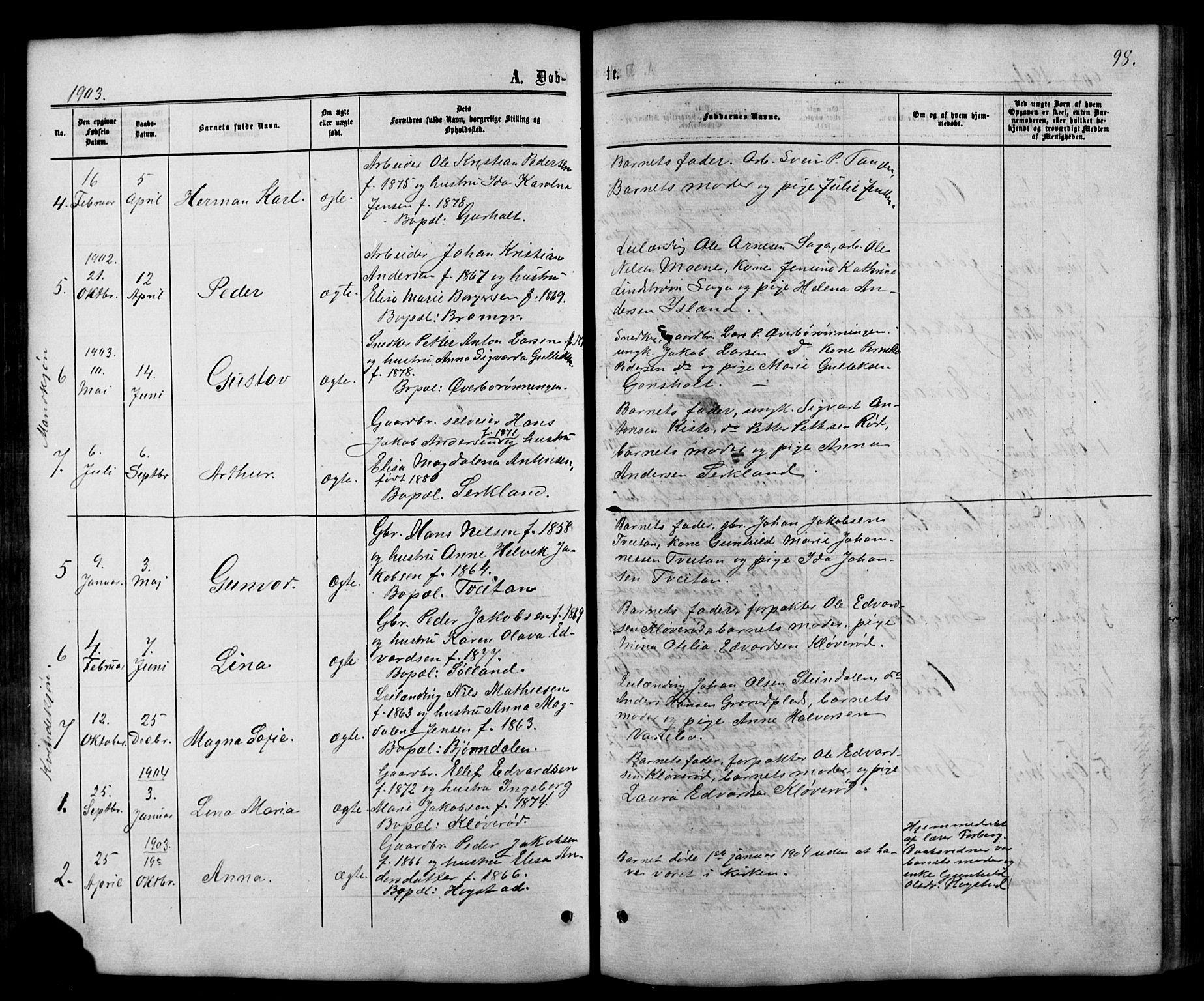 SAKO, Siljan kirkebøker, G/Ga/L0002: Klokkerbok nr. 2, 1864-1908, s. 98