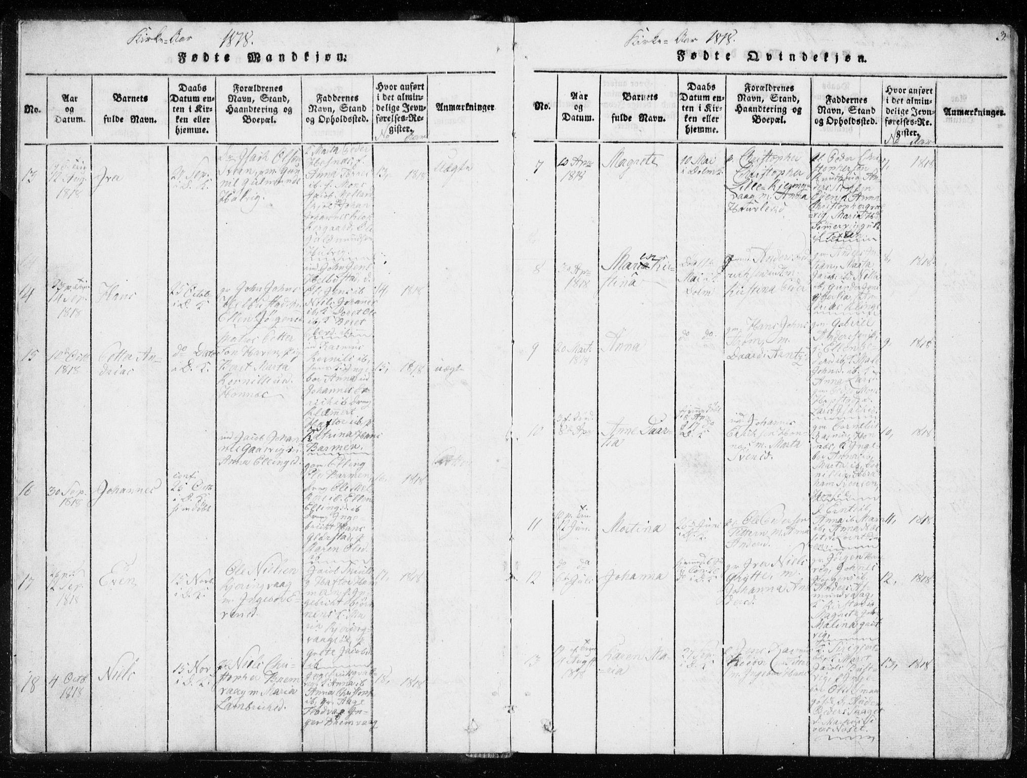 SAT, Ministerialprotokoller, klokkerbøker og fødselsregistre - Sør-Trøndelag, 634/L0527: Ministerialbok nr. 634A03, 1818-1826, s. 3