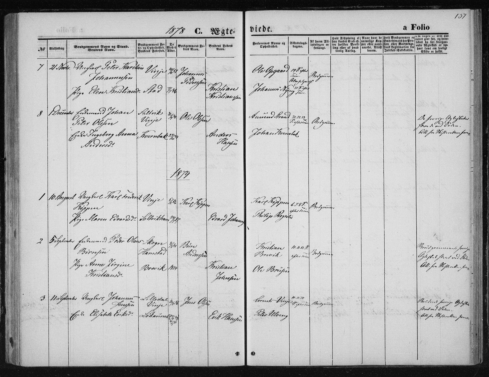 SAT, Ministerialprotokoller, klokkerbøker og fødselsregistre - Nord-Trøndelag, 733/L0324: Ministerialbok nr. 733A03, 1870-1883, s. 137