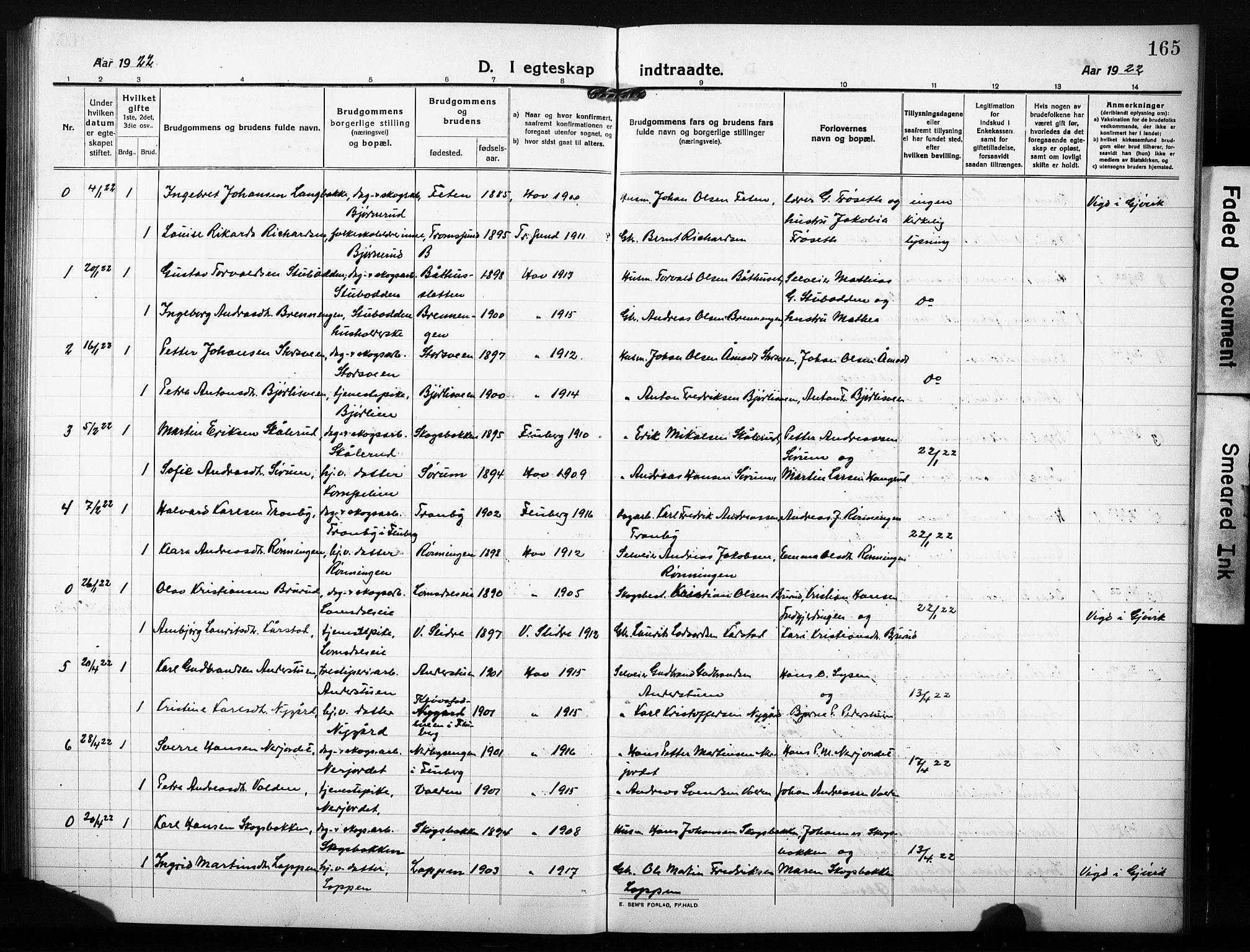 SAH, Søndre Land prestekontor, L/L0007: Klokkerbok nr. 7, 1915-1932, s. 165