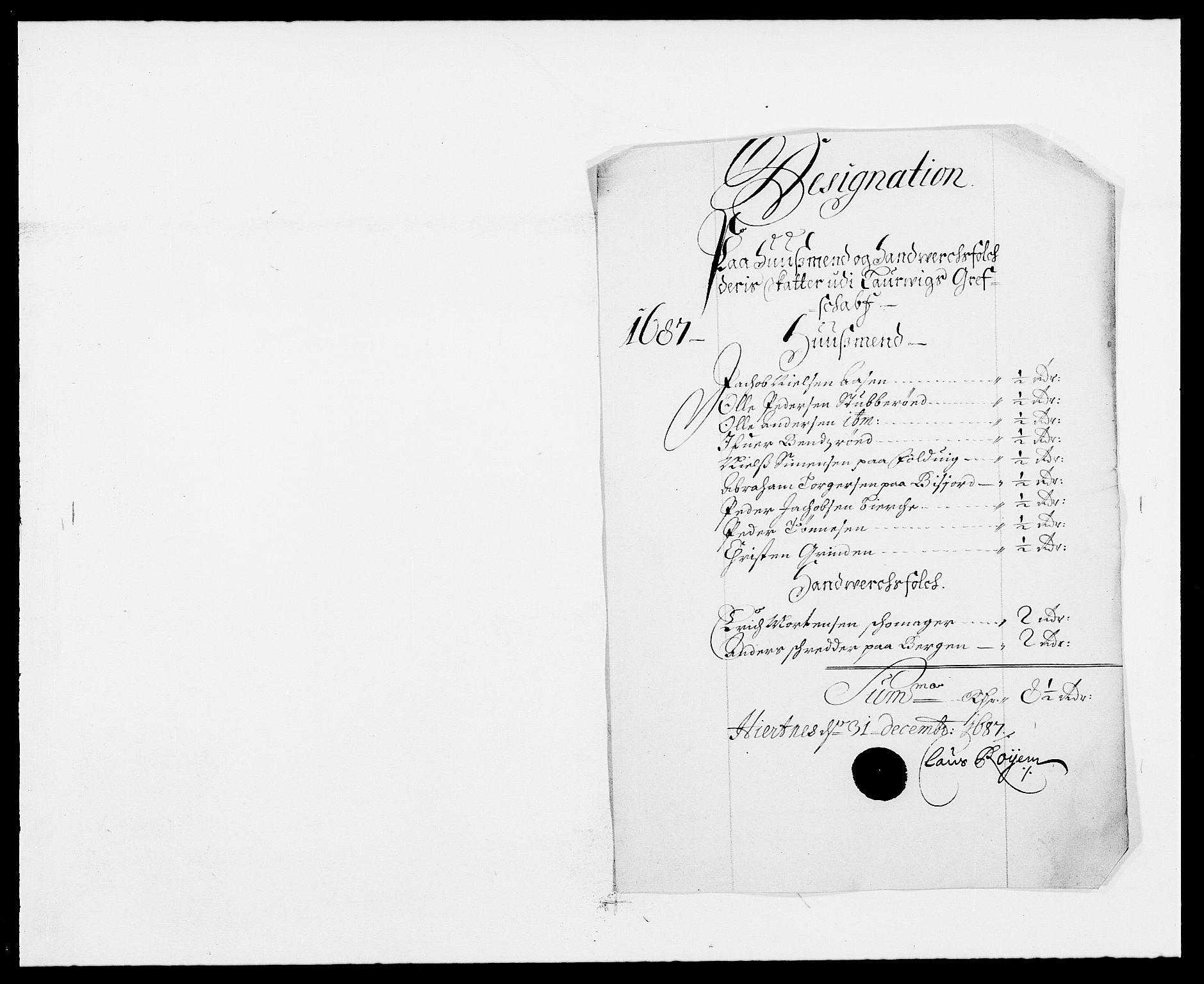 RA, Rentekammeret inntil 1814, Reviderte regnskaper, Fogderegnskap, R33/L1970: Fogderegnskap Larvik grevskap, 1675-1687, s. 401