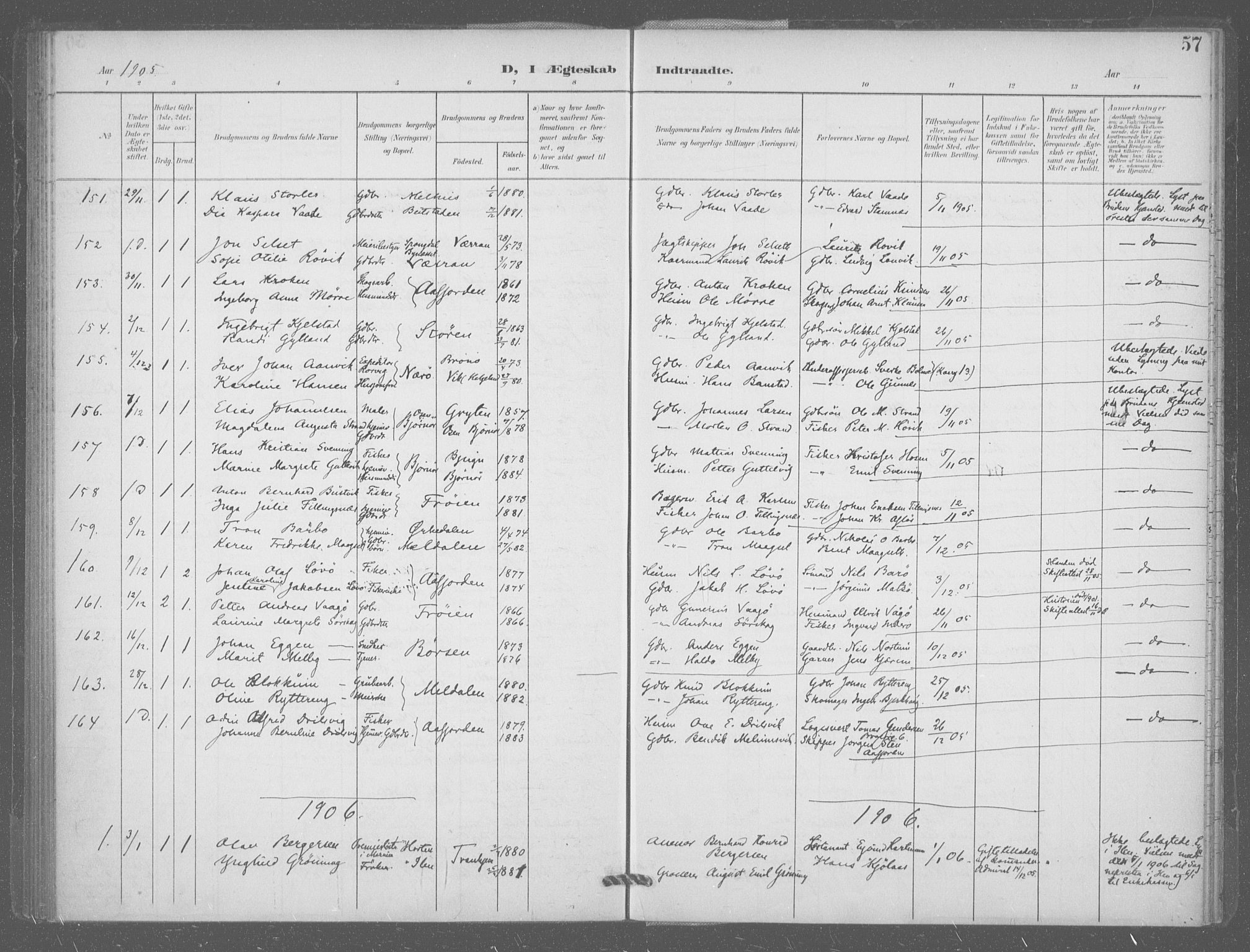 SAT, Ministerialprotokoller, klokkerbøker og fødselsregistre - Sør-Trøndelag, 601/L0077: Residerende kapellans bok nr. 601B10, 1900-1907, s. 57