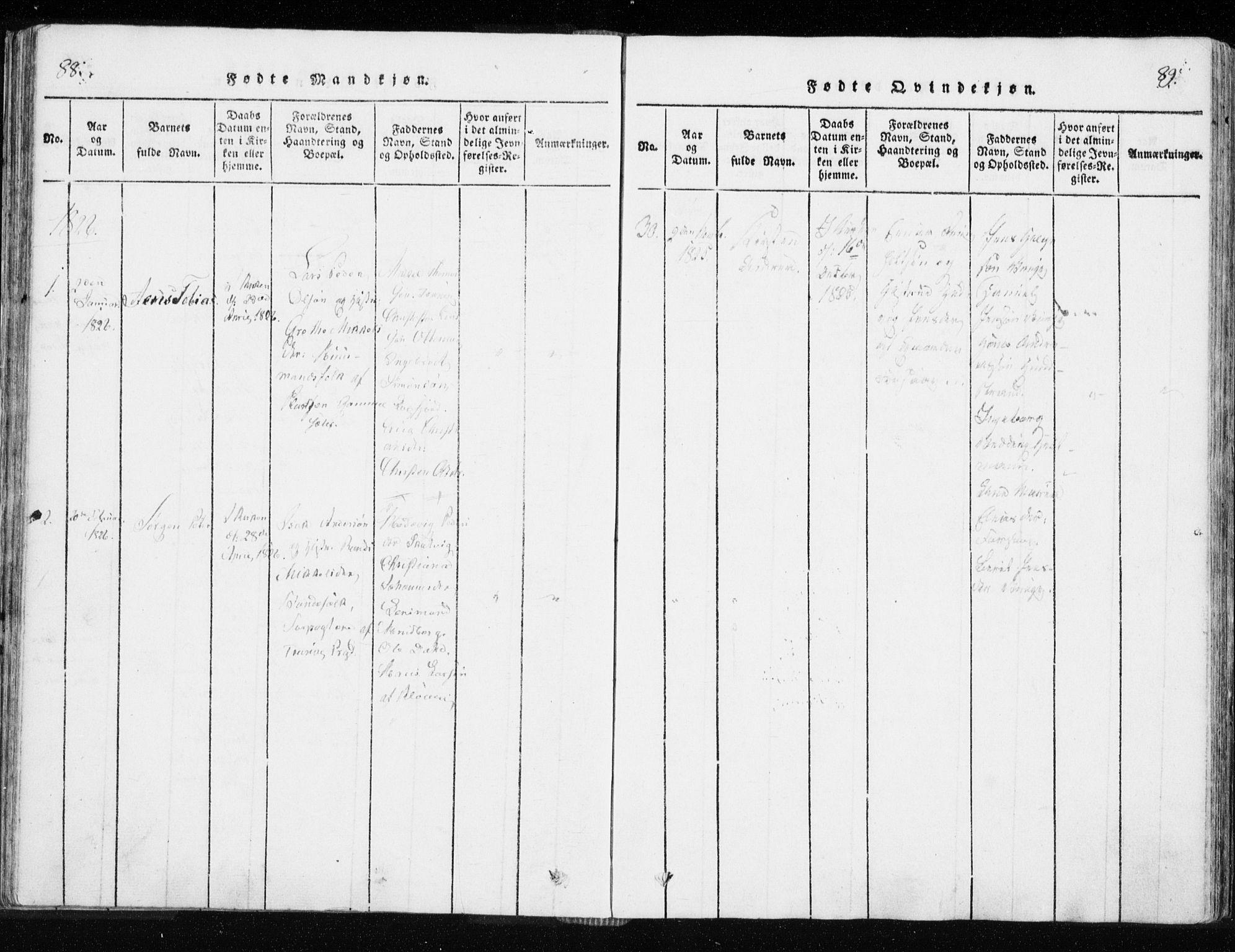SATØ, Tranøy sokneprestkontor, I/Ia/Iaa/L0004kirke: Ministerialbok nr. 4, 1820-1829, s. 88-89