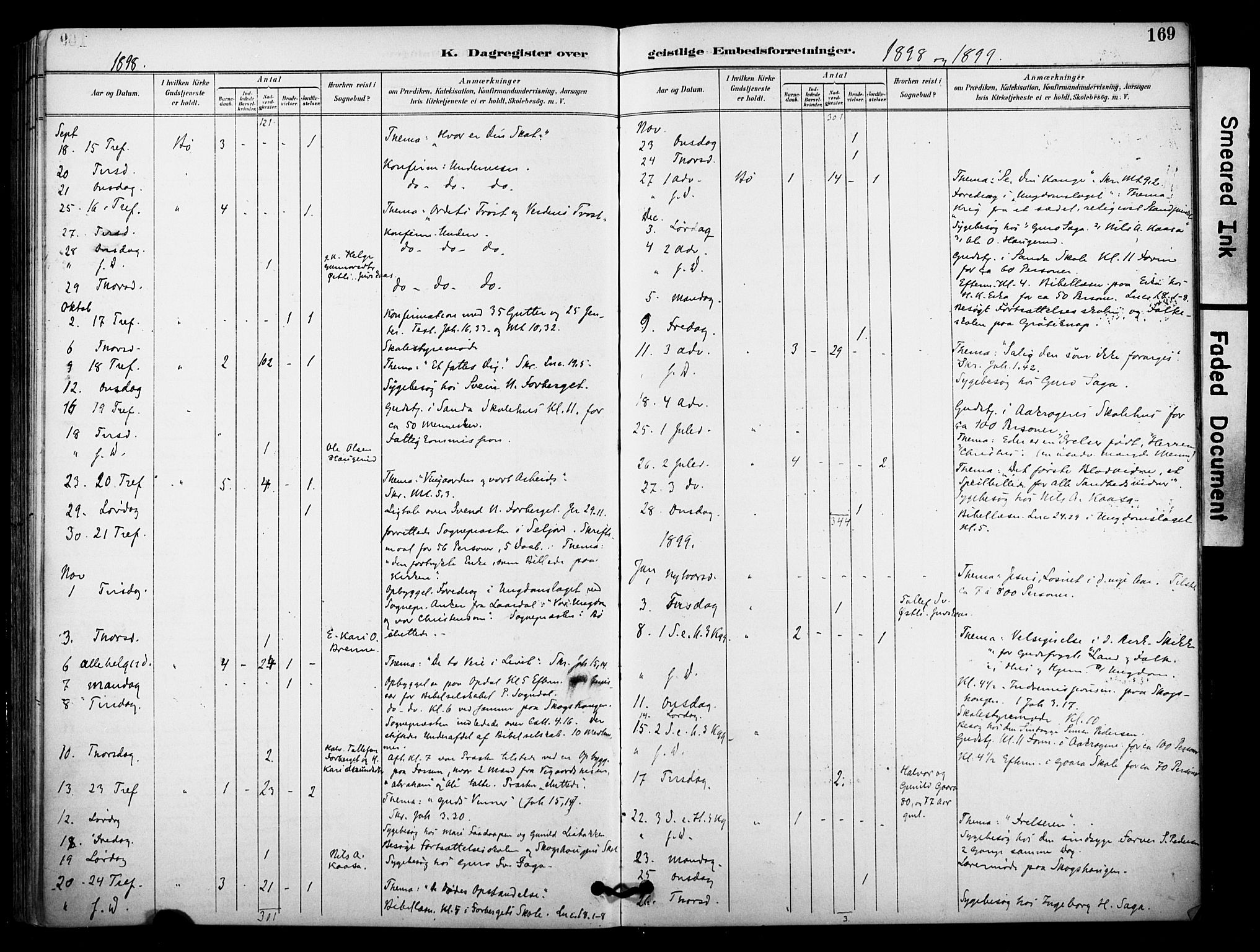 SAKO, Bø kirkebøker, F/Fa/L0011: Ministerialbok nr. 11, 1892-1900, s. 169