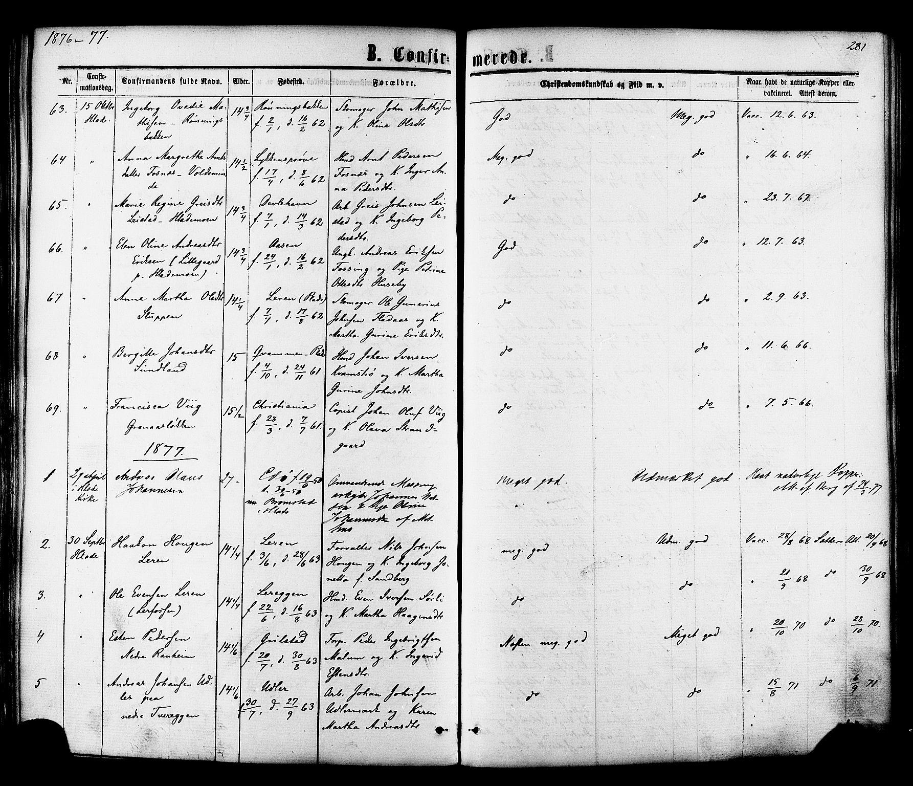 SAT, Ministerialprotokoller, klokkerbøker og fødselsregistre - Sør-Trøndelag, 606/L0293: Ministerialbok nr. 606A08, 1866-1877, s. 281