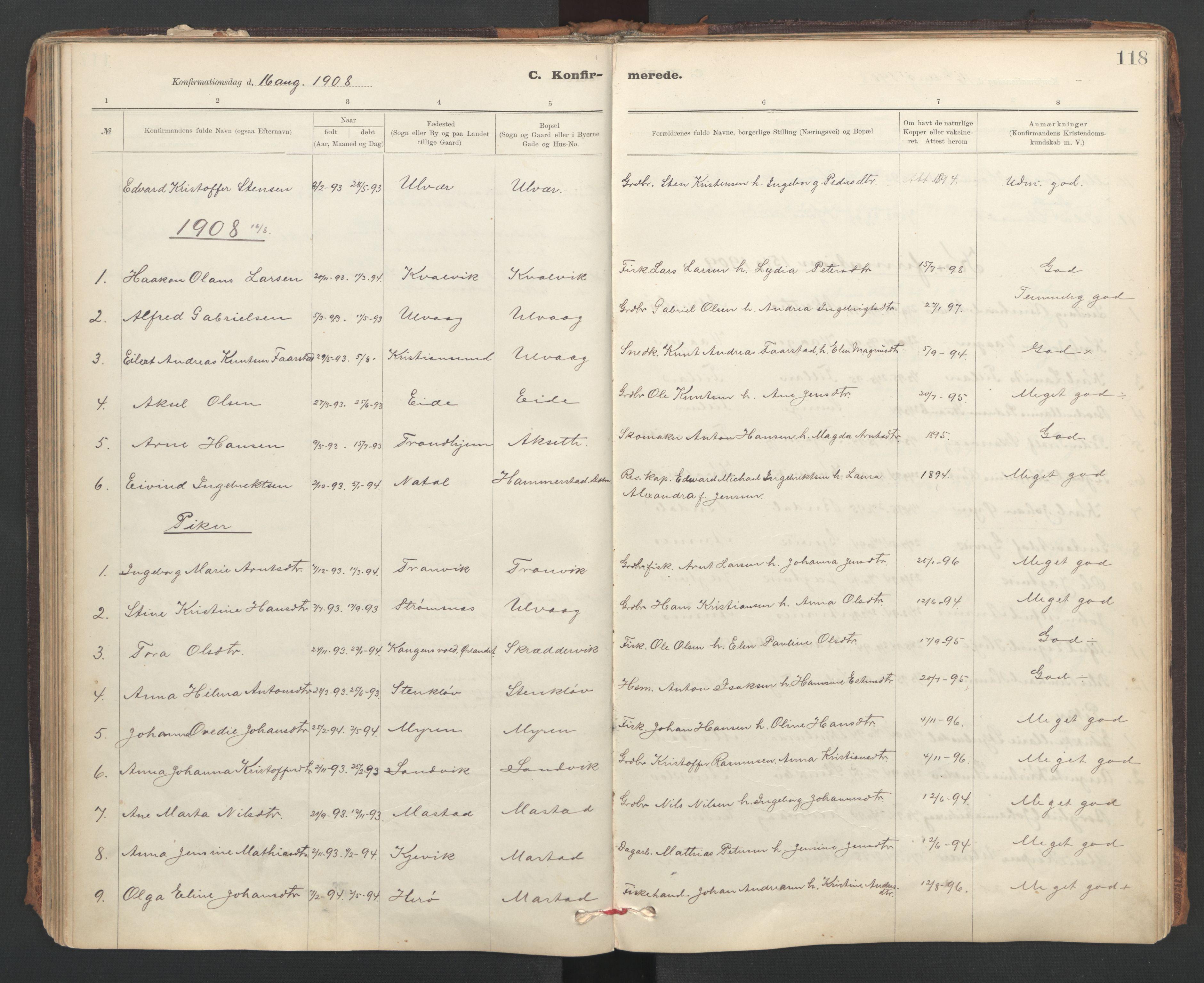 SAT, Ministerialprotokoller, klokkerbøker og fødselsregistre - Sør-Trøndelag, 637/L0559: Ministerialbok nr. 637A02, 1899-1923, s. 118