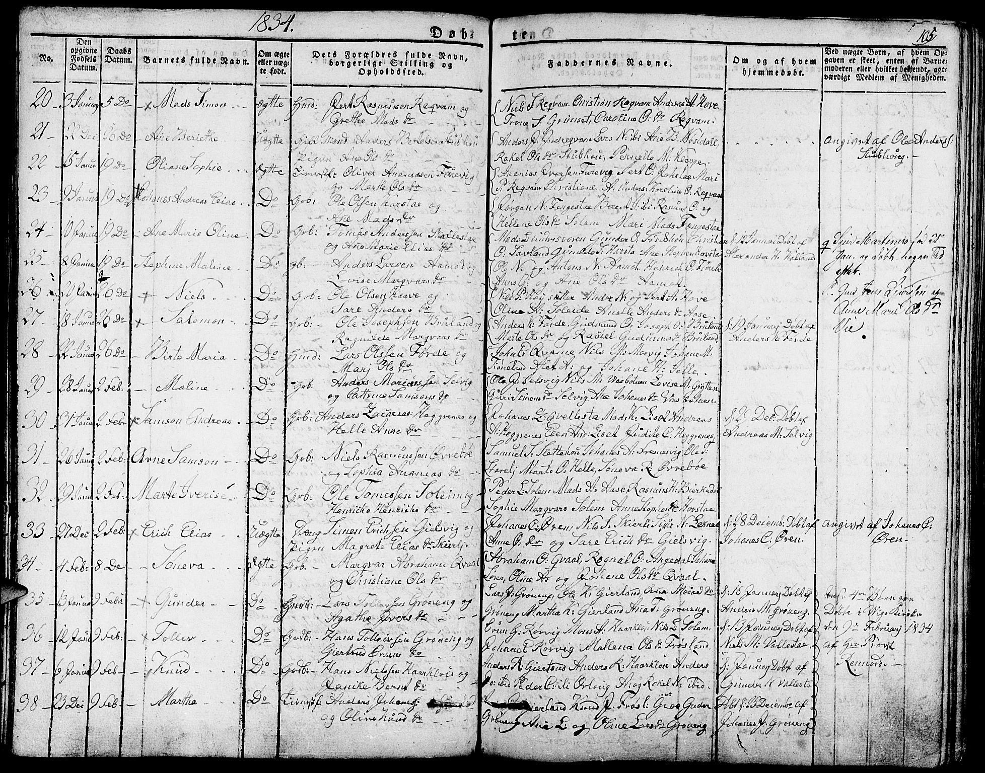 SAB, Førde Sokneprestembete, H/Haa: Ministerialbok nr. A 6, 1821-1842, s. 105