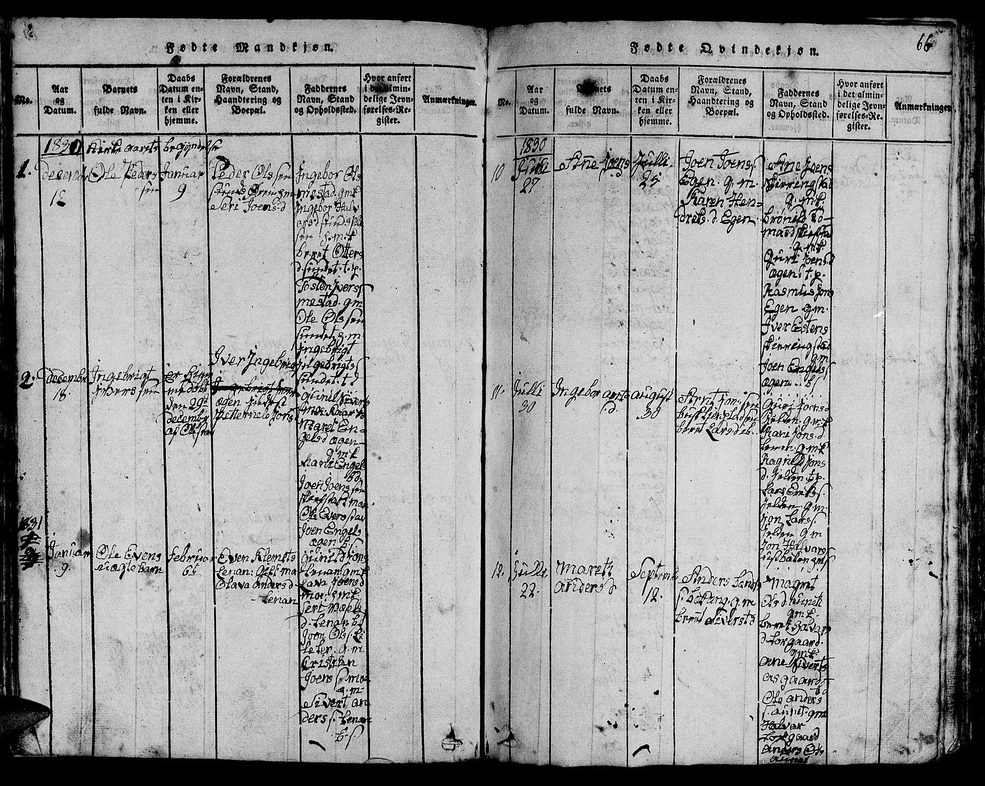 SAT, Ministerialprotokoller, klokkerbøker og fødselsregistre - Sør-Trøndelag, 613/L0393: Klokkerbok nr. 613C01, 1816-1886, s. 66