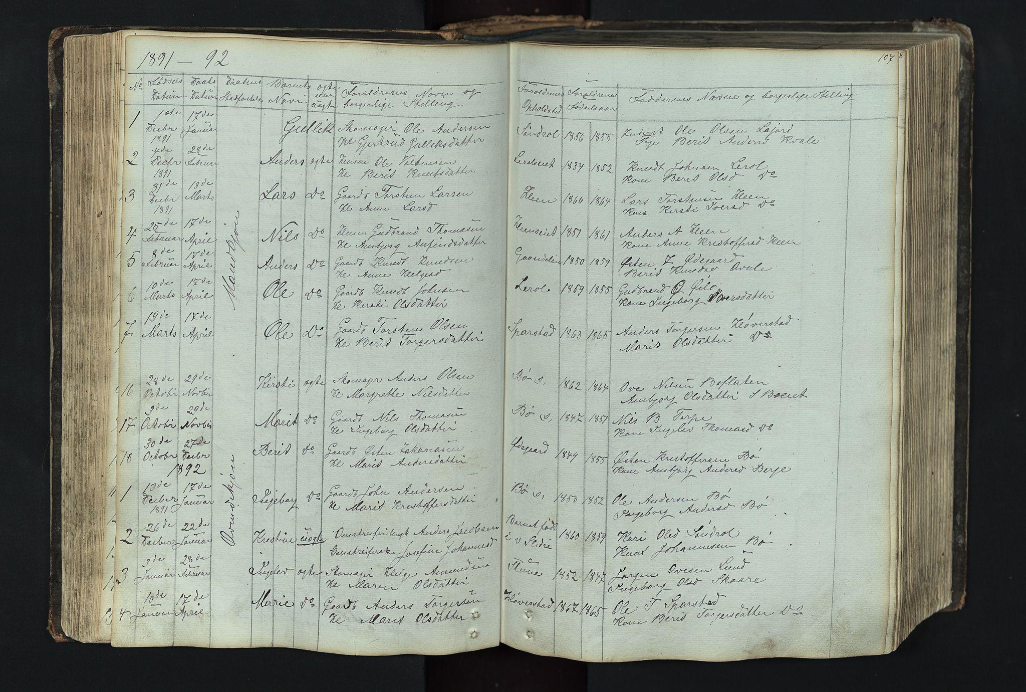 SAH, Vang prestekontor, Valdres, Klokkerbok nr. 4, 1835-1892, s. 107