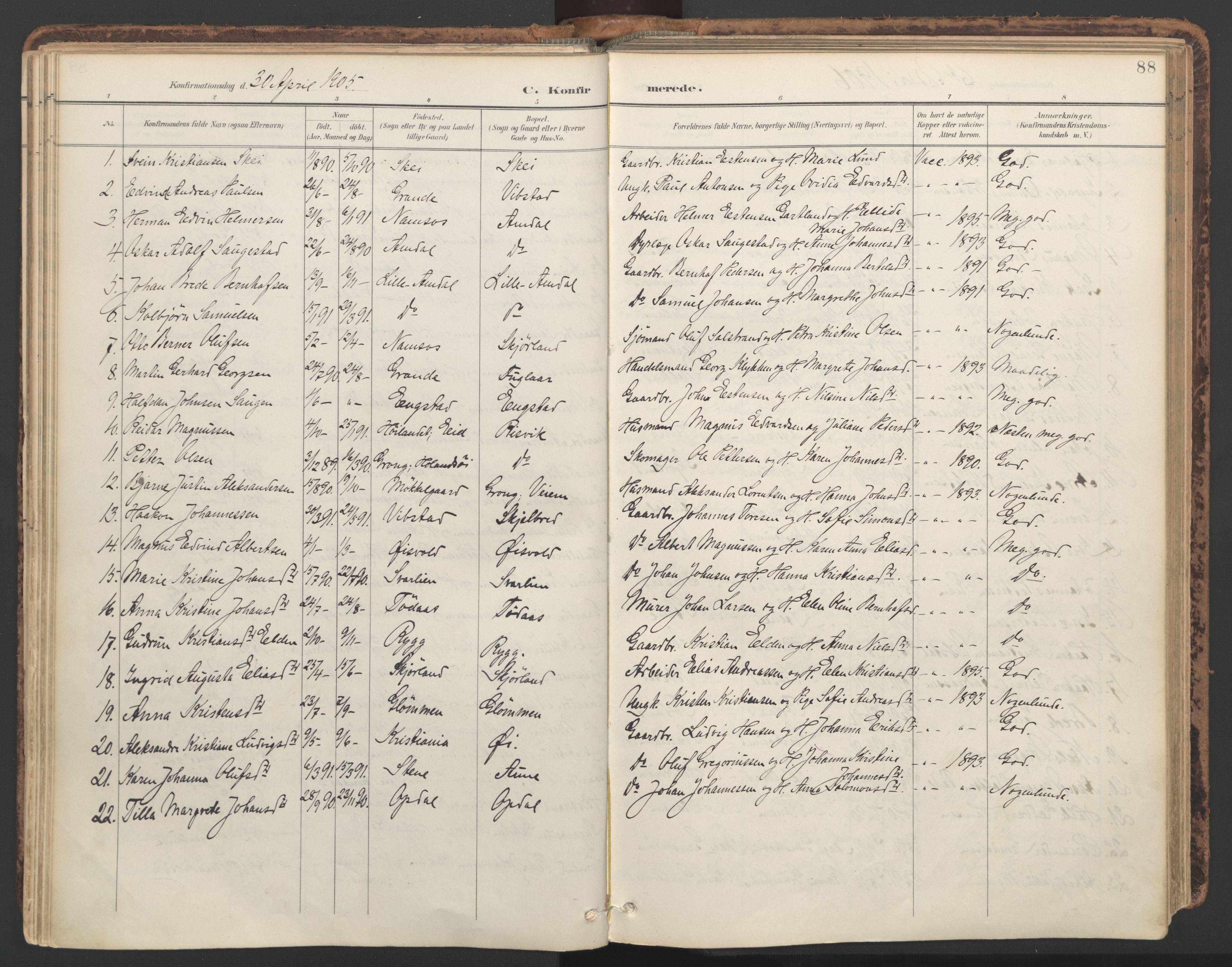 SAT, Ministerialprotokoller, klokkerbøker og fødselsregistre - Nord-Trøndelag, 764/L0556: Ministerialbok nr. 764A11, 1897-1924, s. 88