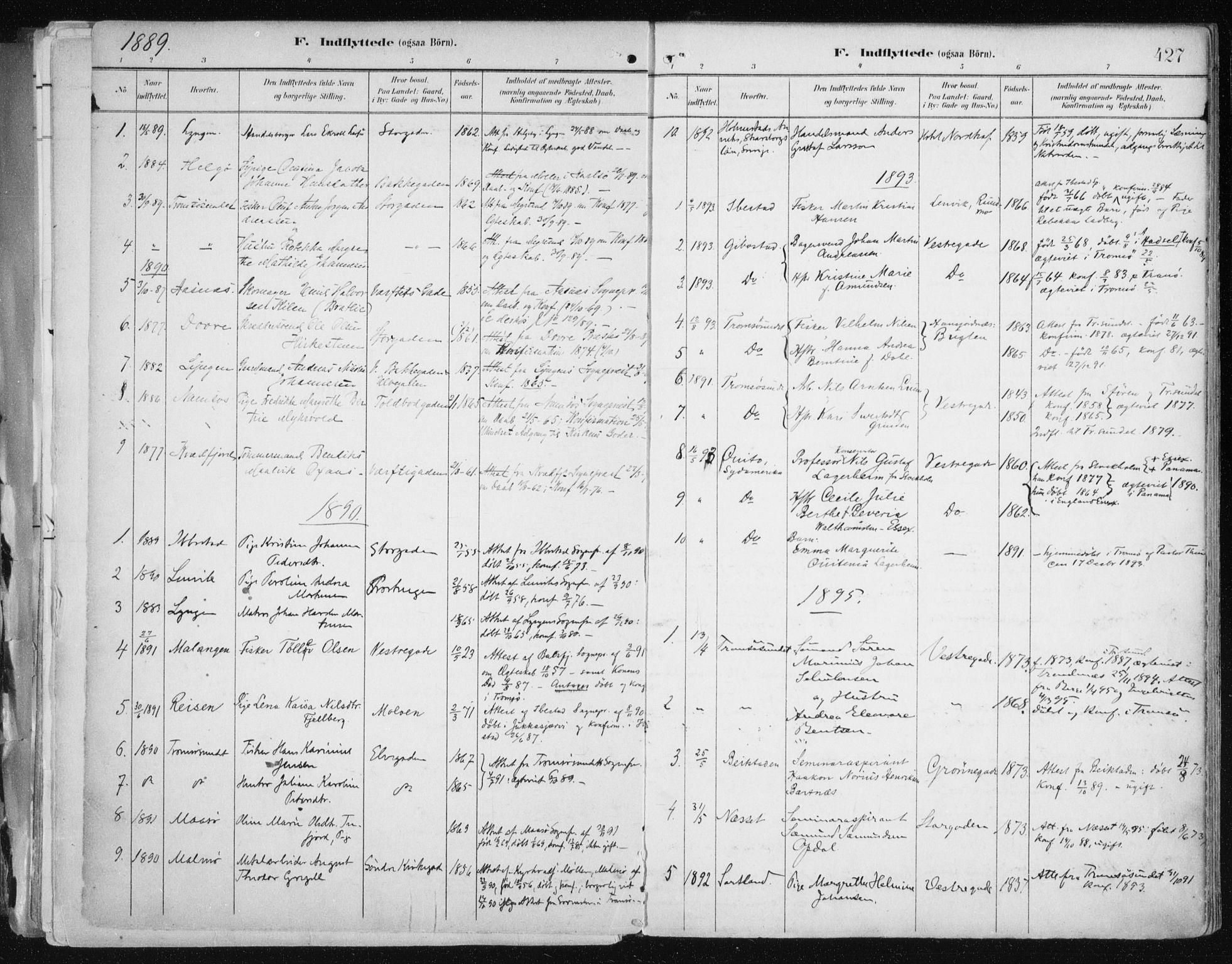 SATØ, Tromsø sokneprestkontor/stiftsprosti/domprosti, G/Ga/L0015kirke: Ministerialbok nr. 15, 1889-1899, s. 427