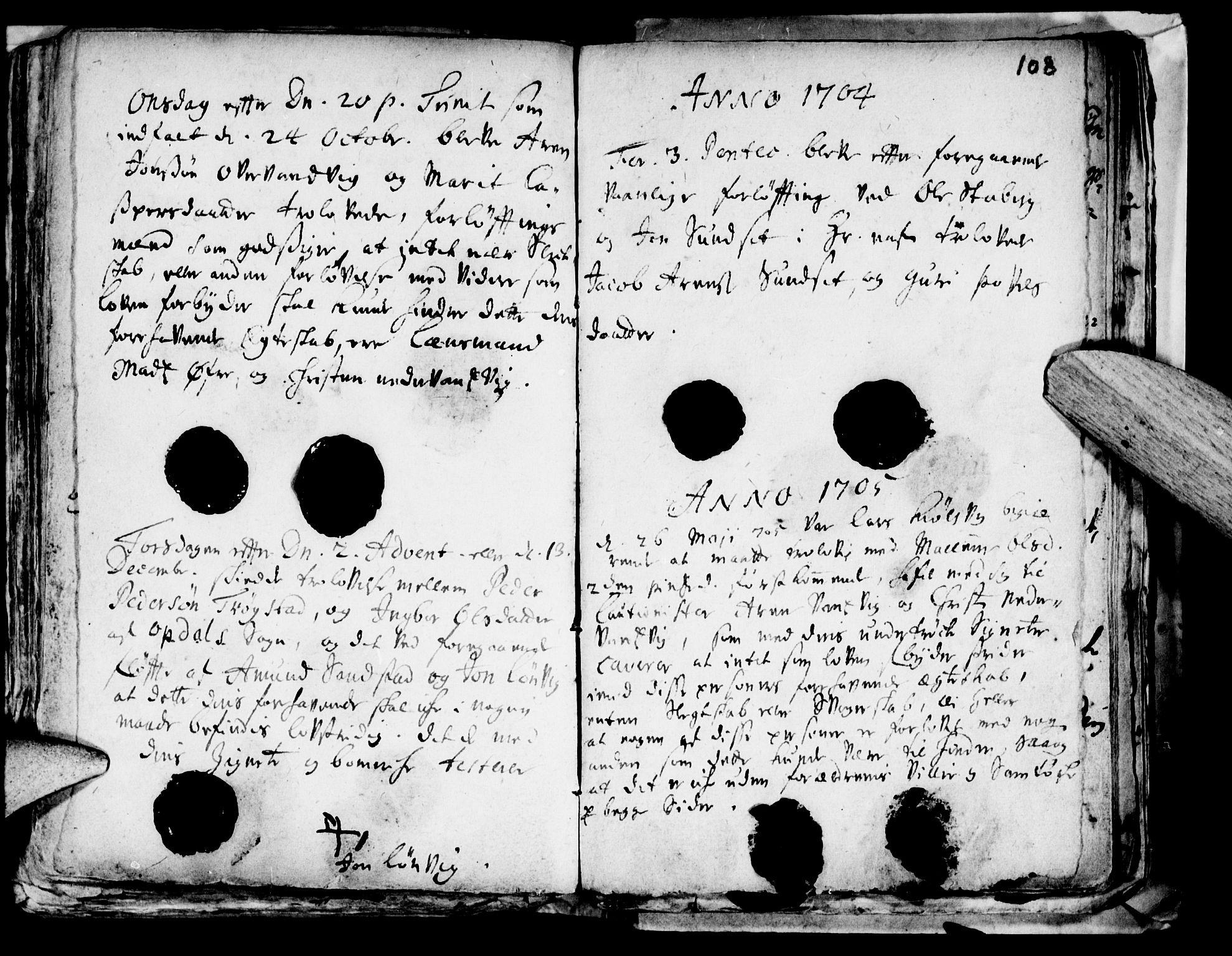 SAT, Ministerialprotokoller, klokkerbøker og fødselsregistre - Nord-Trøndelag, 722/L0214: Ministerialbok nr. 722A01, 1692-1718, s. 108