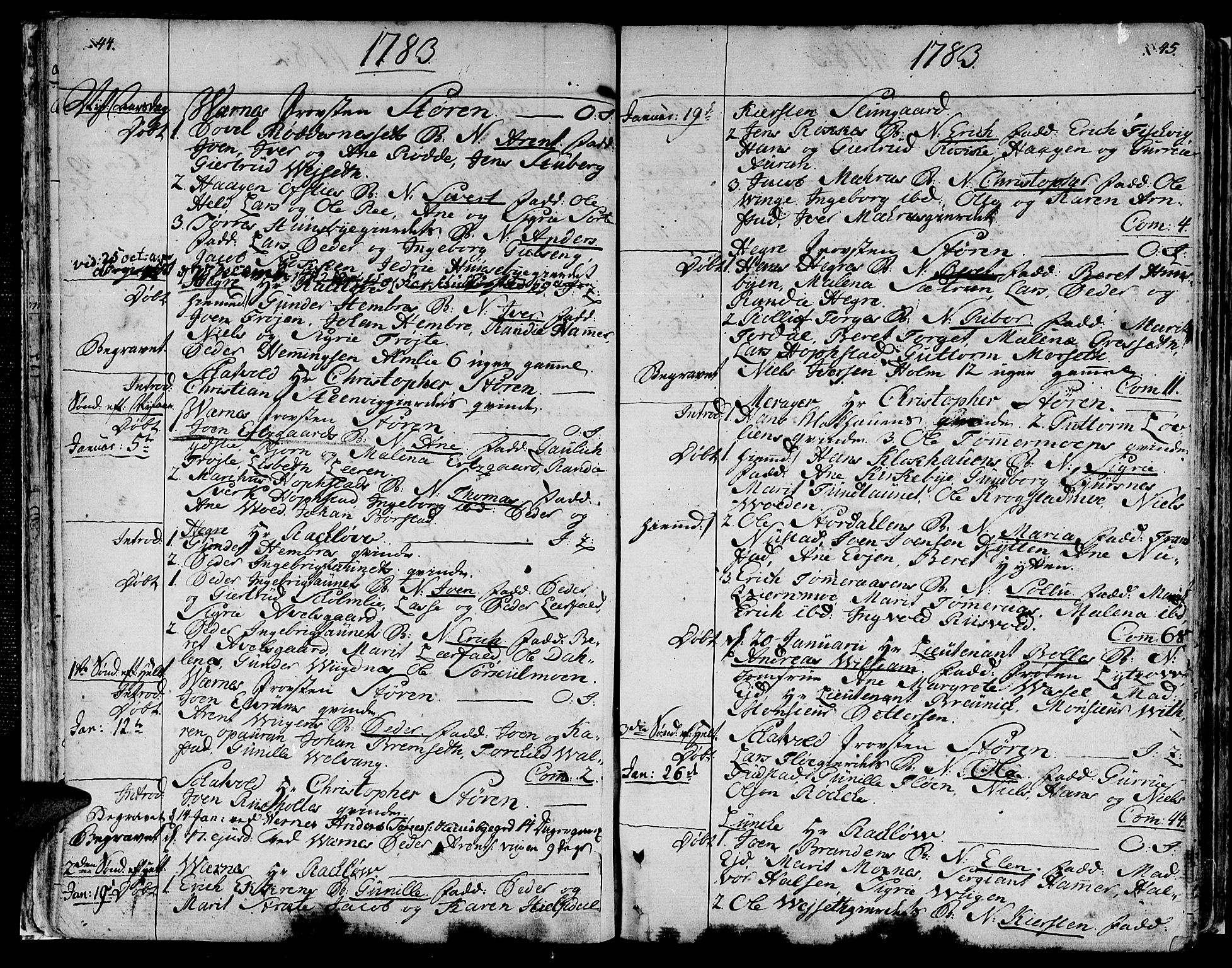 SAT, Ministerialprotokoller, klokkerbøker og fødselsregistre - Nord-Trøndelag, 709/L0059: Ministerialbok nr. 709A06, 1781-1797, s. 44-45