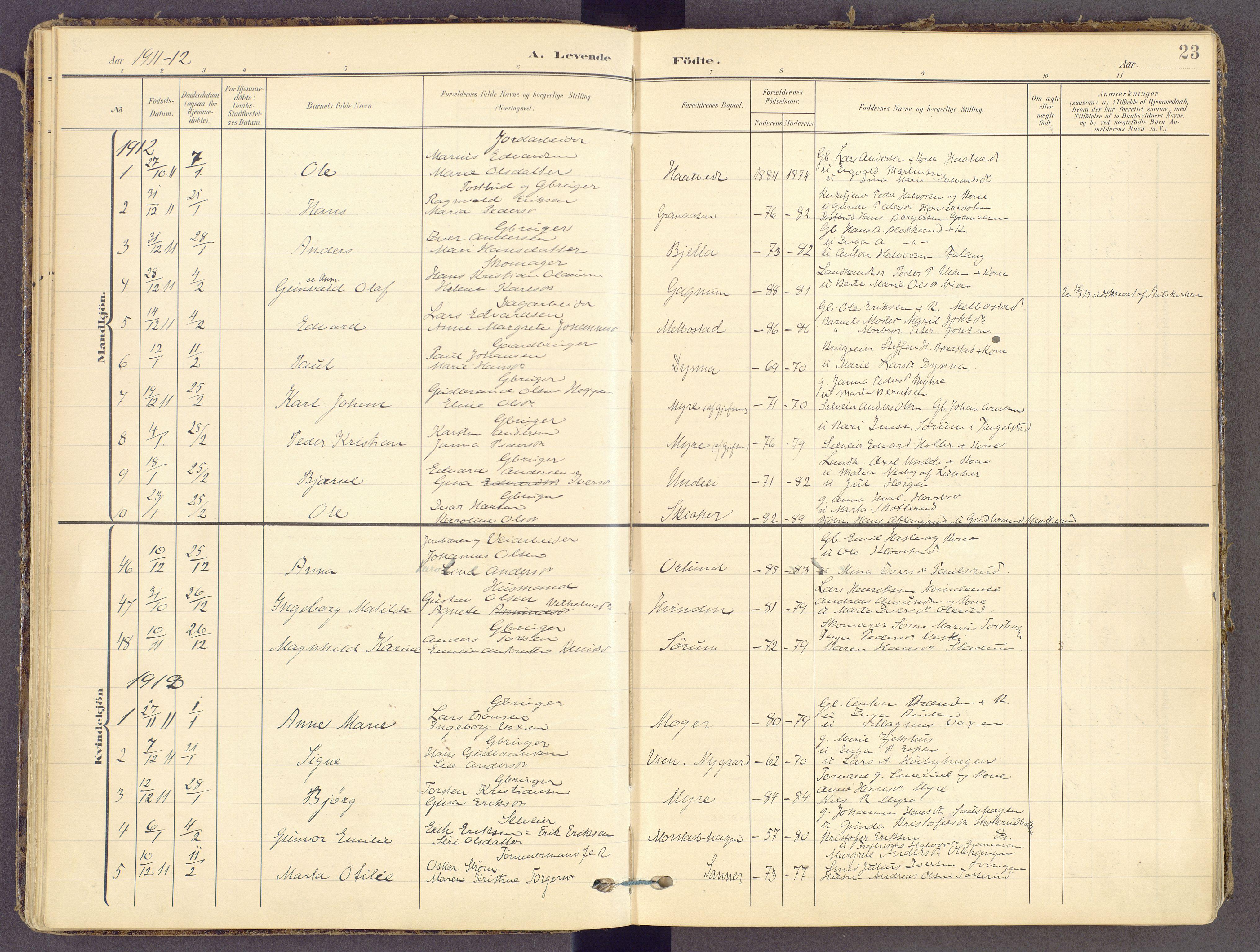 SAH, Gran prestekontor, Ministerialbok nr. 21, 1908-1932, s. 23