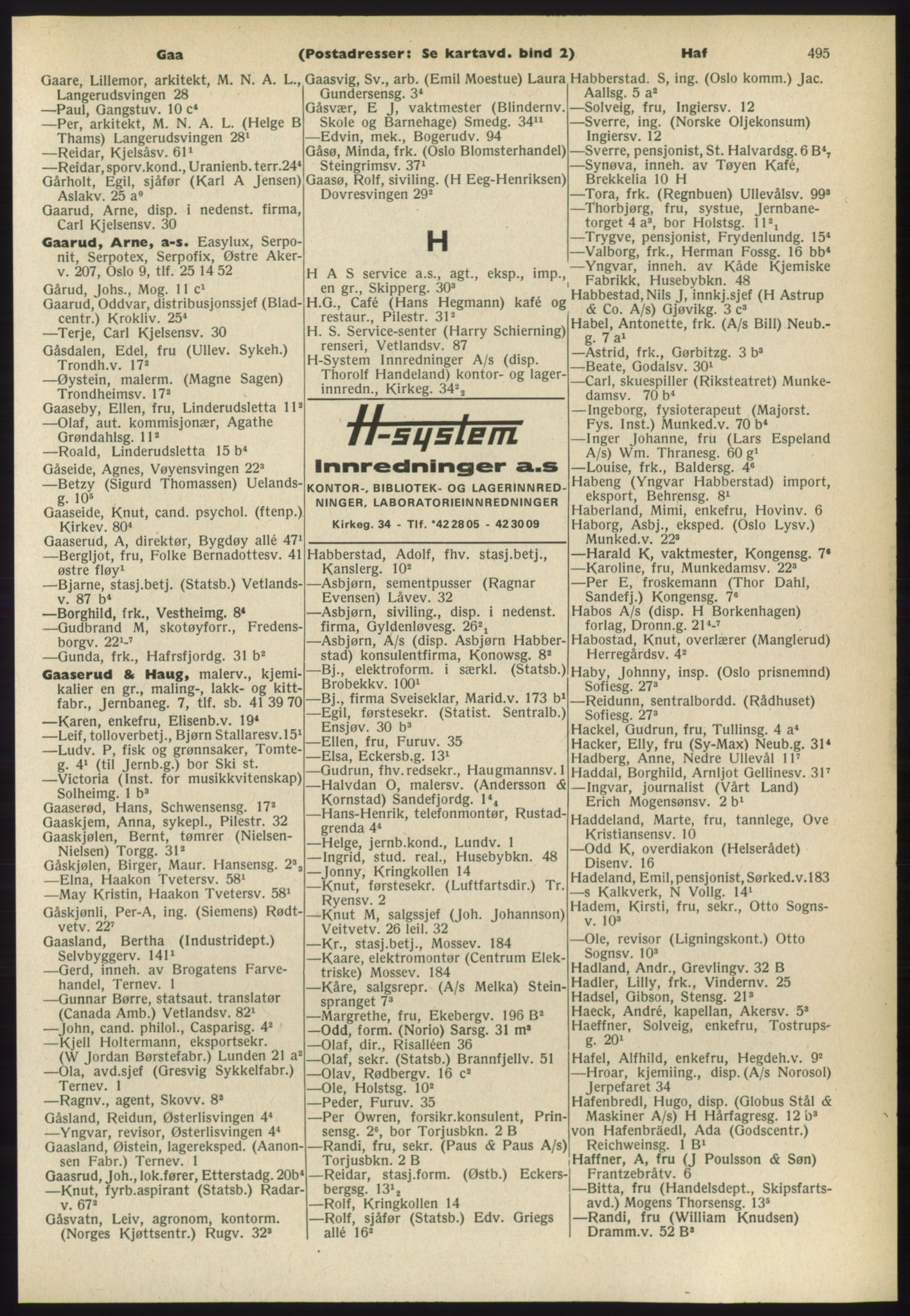 RA, Oslo adressebok (publikasjon)*, 1965-1966, s. 495