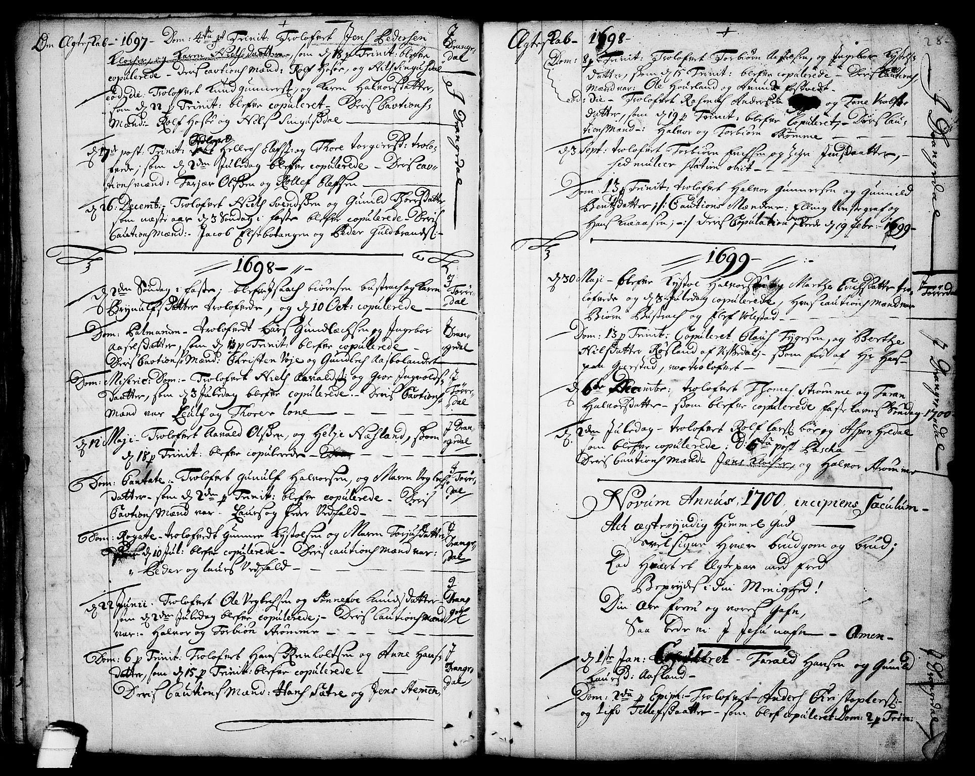 SAKO, Drangedal kirkebøker, F/Fa/L0001: Ministerialbok nr. 1, 1697-1767, s. 28