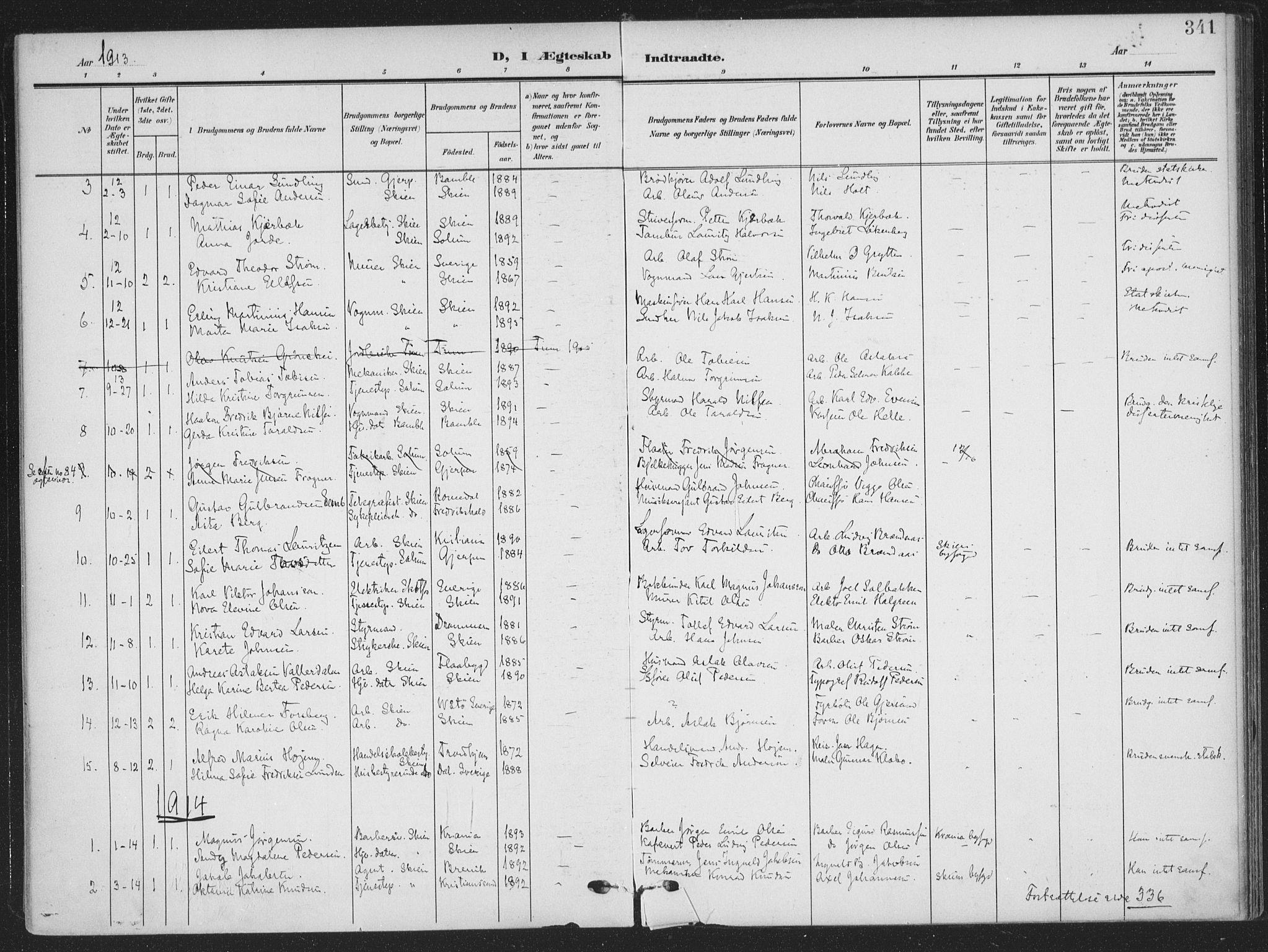 SAKO, Skien kirkebøker, F/Fa/L0012: Ministerialbok nr. 12, 1908-1914, s. 341