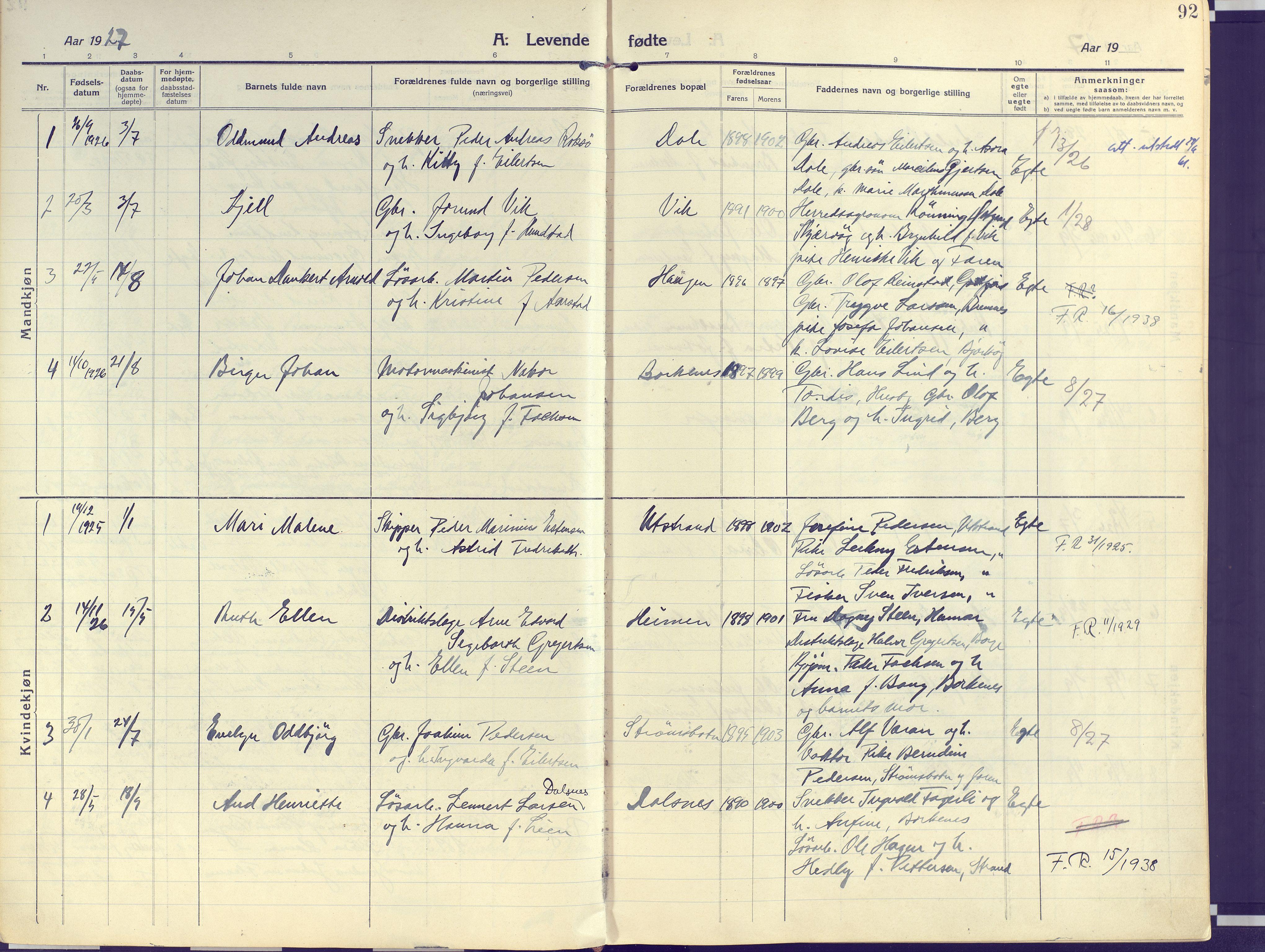 SATØ, Kvæfjord sokneprestkontor, G/Ga/Gaa/L0007kirke: Ministerialbok nr. 7, 1915-1931, s. 92