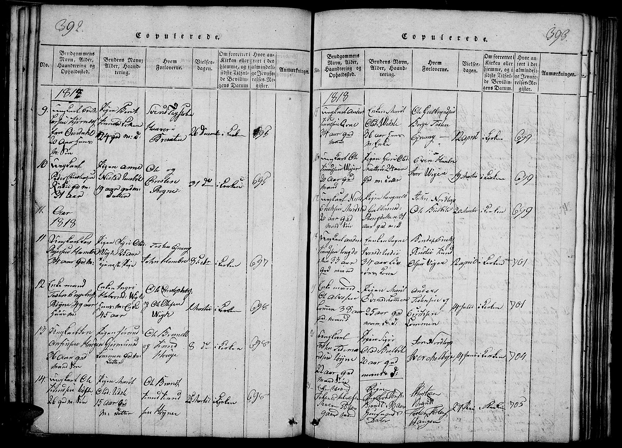 SAH, Slidre prestekontor, Ministerialbok nr. 2, 1814-1830, s. 392-393