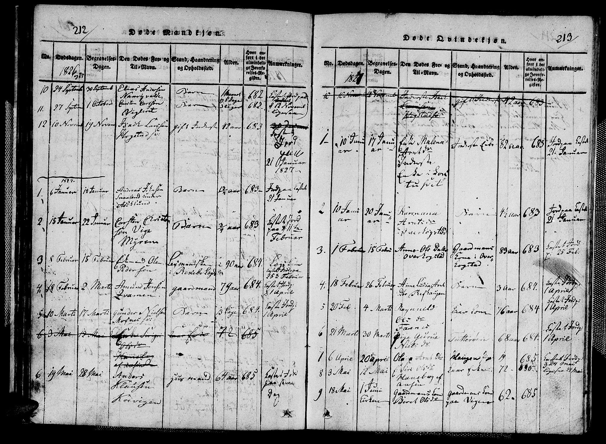 SAT, Ministerialprotokoller, klokkerbøker og fødselsregistre - Nord-Trøndelag, 713/L0124: Klokkerbok nr. 713C01, 1817-1827, s. 212-213